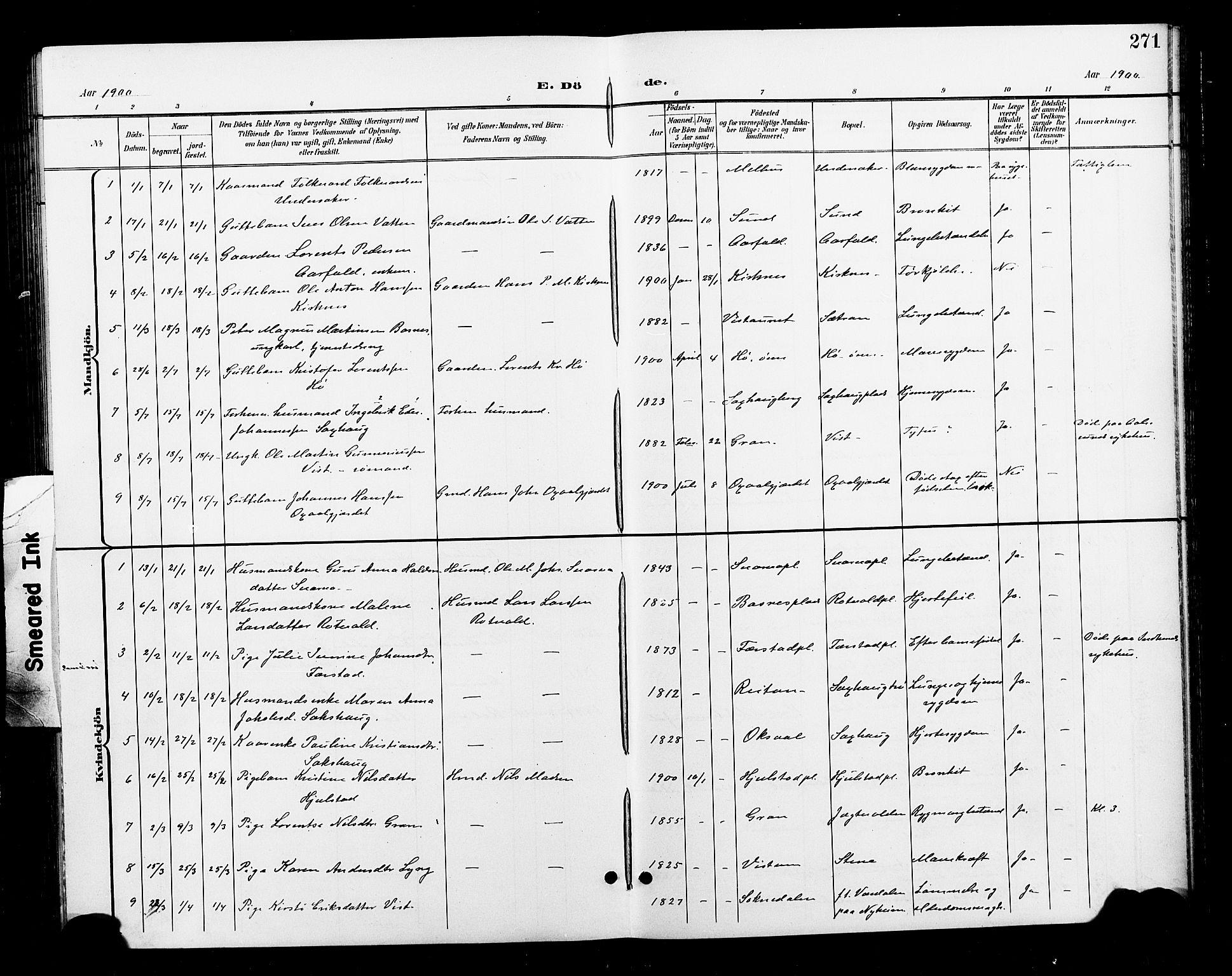 SAT, Ministerialprotokoller, klokkerbøker og fødselsregistre - Nord-Trøndelag, 730/L0302: Klokkerbok nr. 730C05, 1898-1924, s. 271