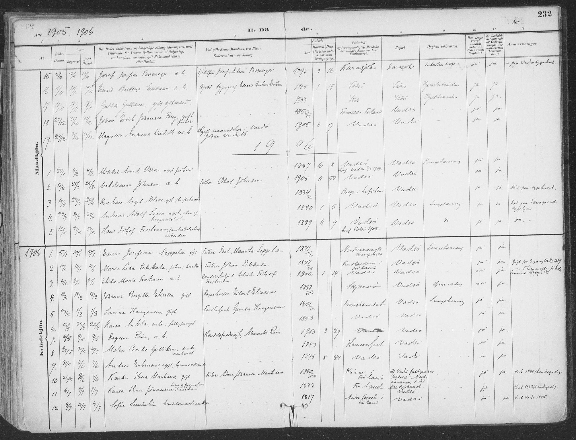 SATØ, Vadsø sokneprestkontor, H/Ha/L0007kirke: Ministerialbok nr. 7, 1896-1916, s. 232