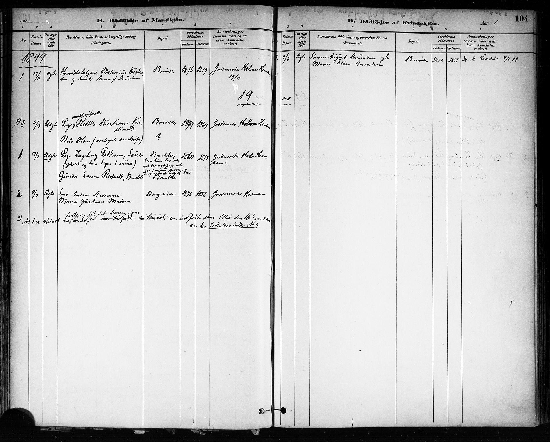 SAKO, Brevik kirkebøker, F/Fa/L0007: Ministerialbok nr. 7, 1882-1900, s. 104