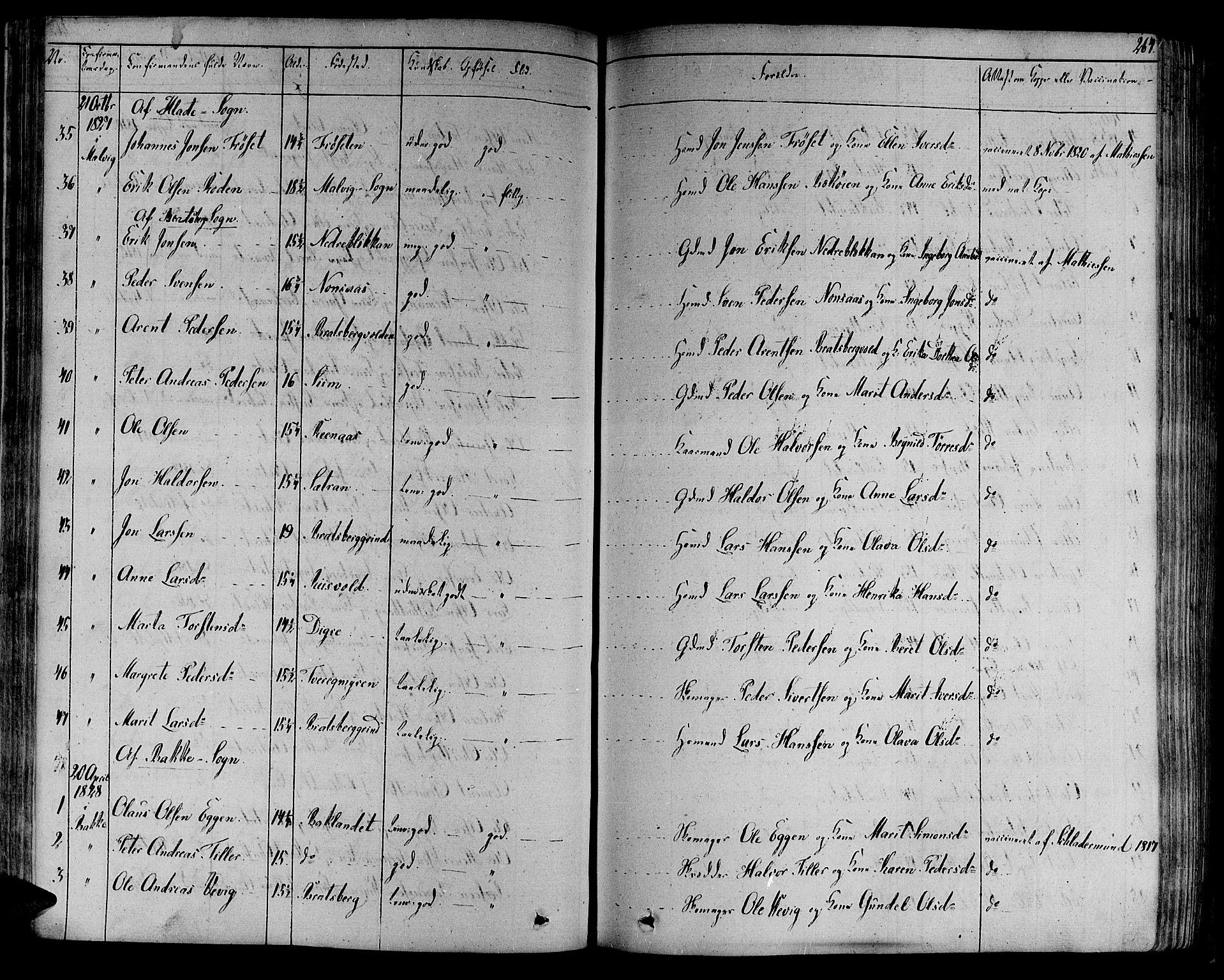 SAT, Ministerialprotokoller, klokkerbøker og fødselsregistre - Sør-Trøndelag, 606/L0286: Ministerialbok nr. 606A04 /1, 1823-1840, s. 264