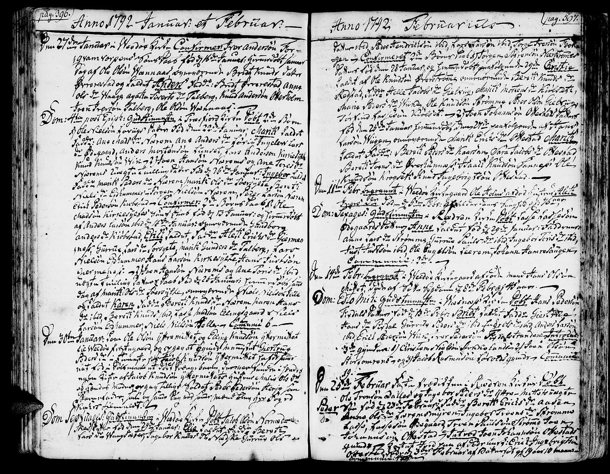 SAT, Ministerialprotokoller, klokkerbøker og fødselsregistre - Møre og Romsdal, 547/L0600: Ministerialbok nr. 547A02, 1765-1799, s. 396-397