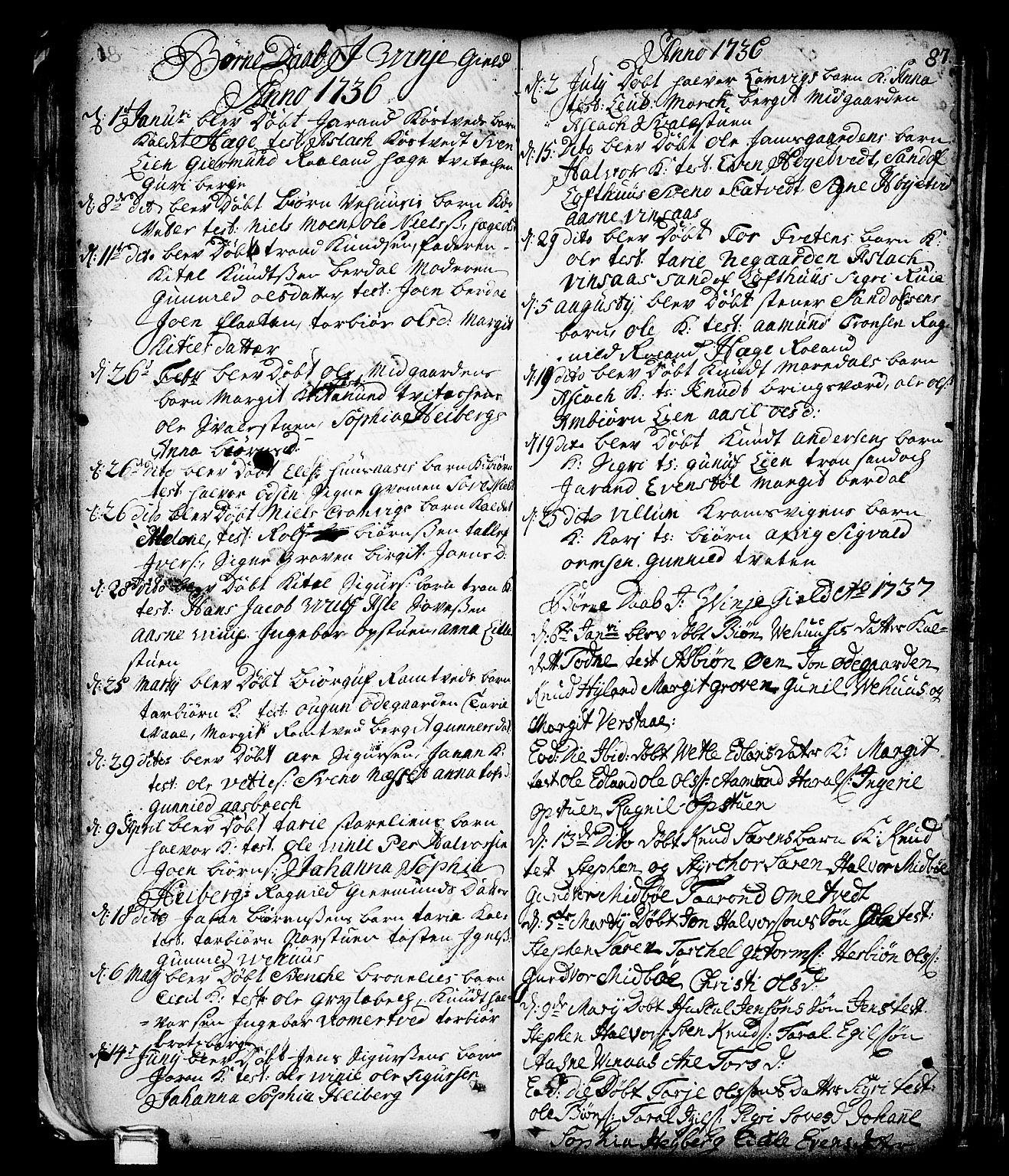 SAKO, Vinje kirkebøker, F/Fa/L0001: Ministerialbok nr. I 1, 1717-1766, s. 87