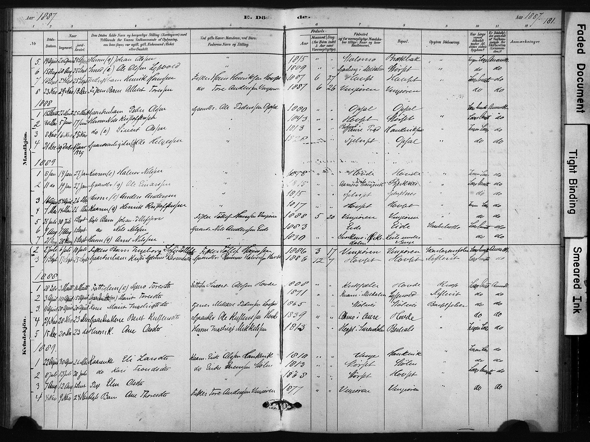 SAT, Ministerialprotokoller, klokkerbøker og fødselsregistre - Sør-Trøndelag, 631/L0512: Ministerialbok nr. 631A01, 1879-1912, s. 181