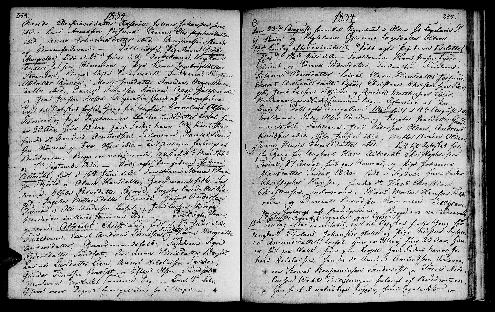 SAT, Ministerialprotokoller, klokkerbøker og fødselsregistre - Sør-Trøndelag, 655/L0674: Ministerialbok nr. 655A03, 1802-1826, s. 354-355