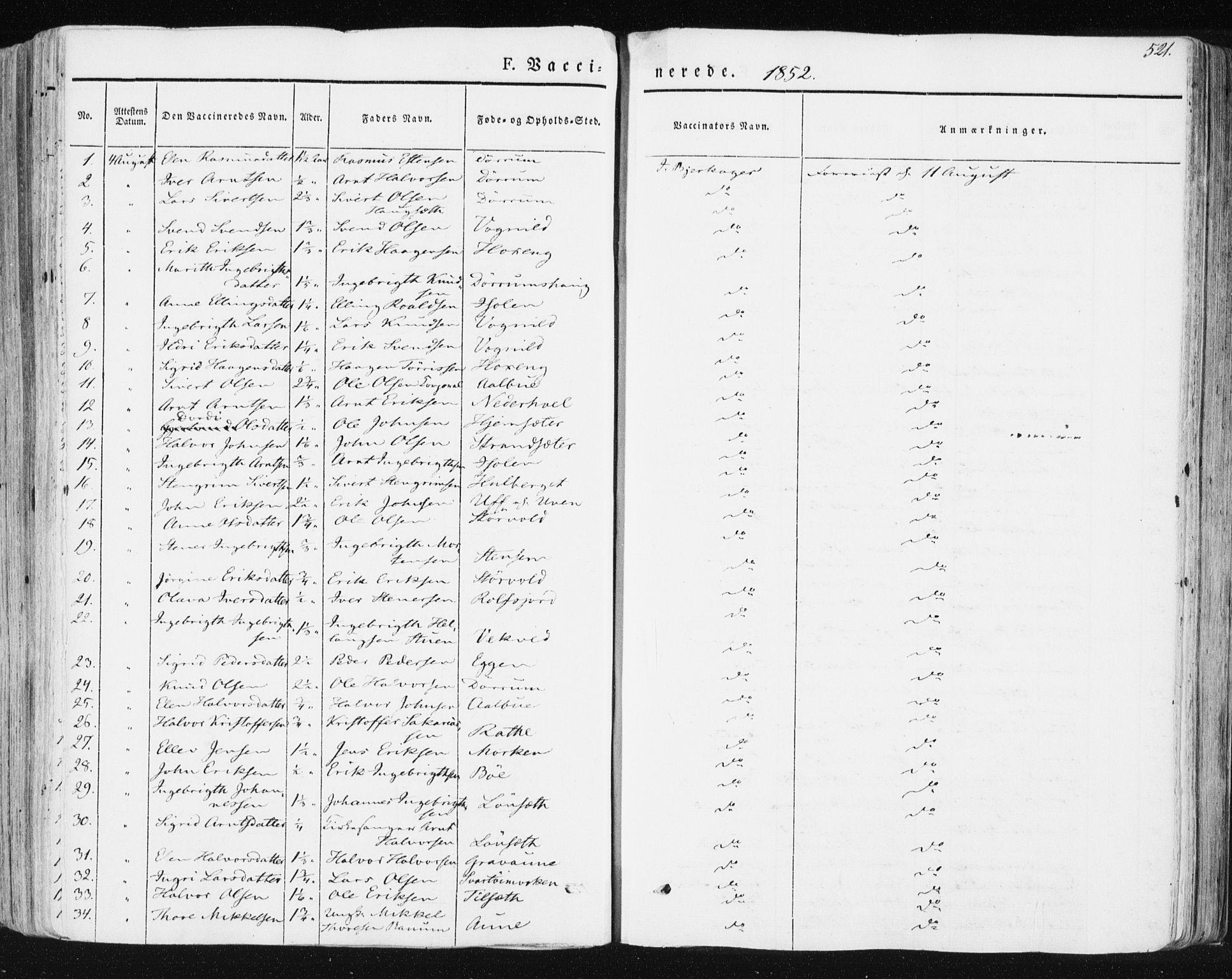 SAT, Ministerialprotokoller, klokkerbøker og fødselsregistre - Sør-Trøndelag, 678/L0899: Ministerialbok nr. 678A08, 1848-1872, s. 521