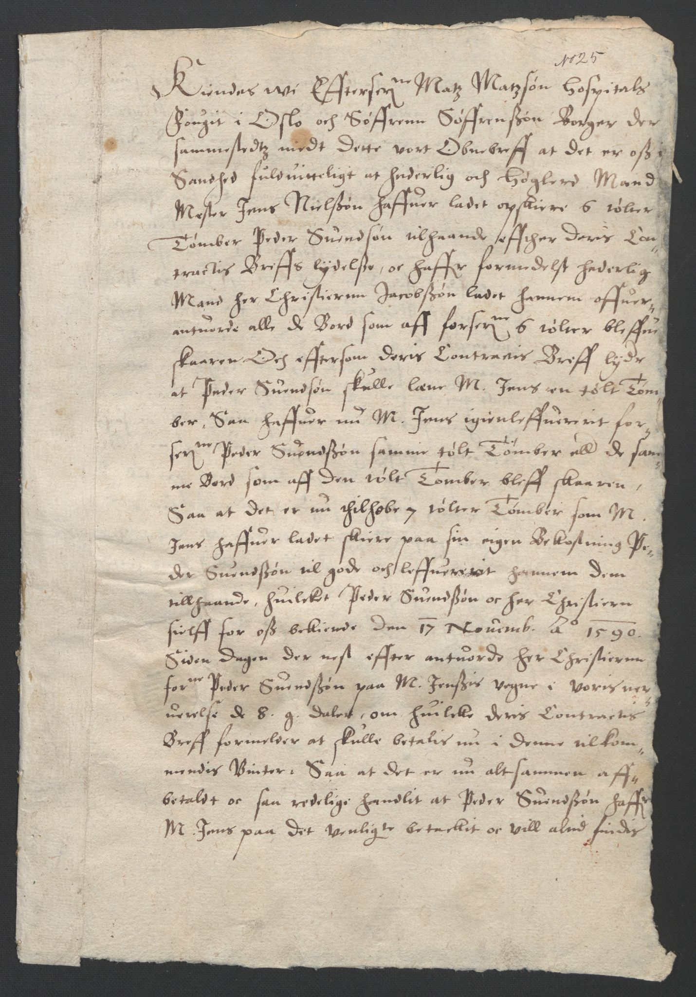 SAO, Oslo stiftsdireksjon, G/Gb/L0001: Bispestolens dokumenter, 1584-1612, s. 25