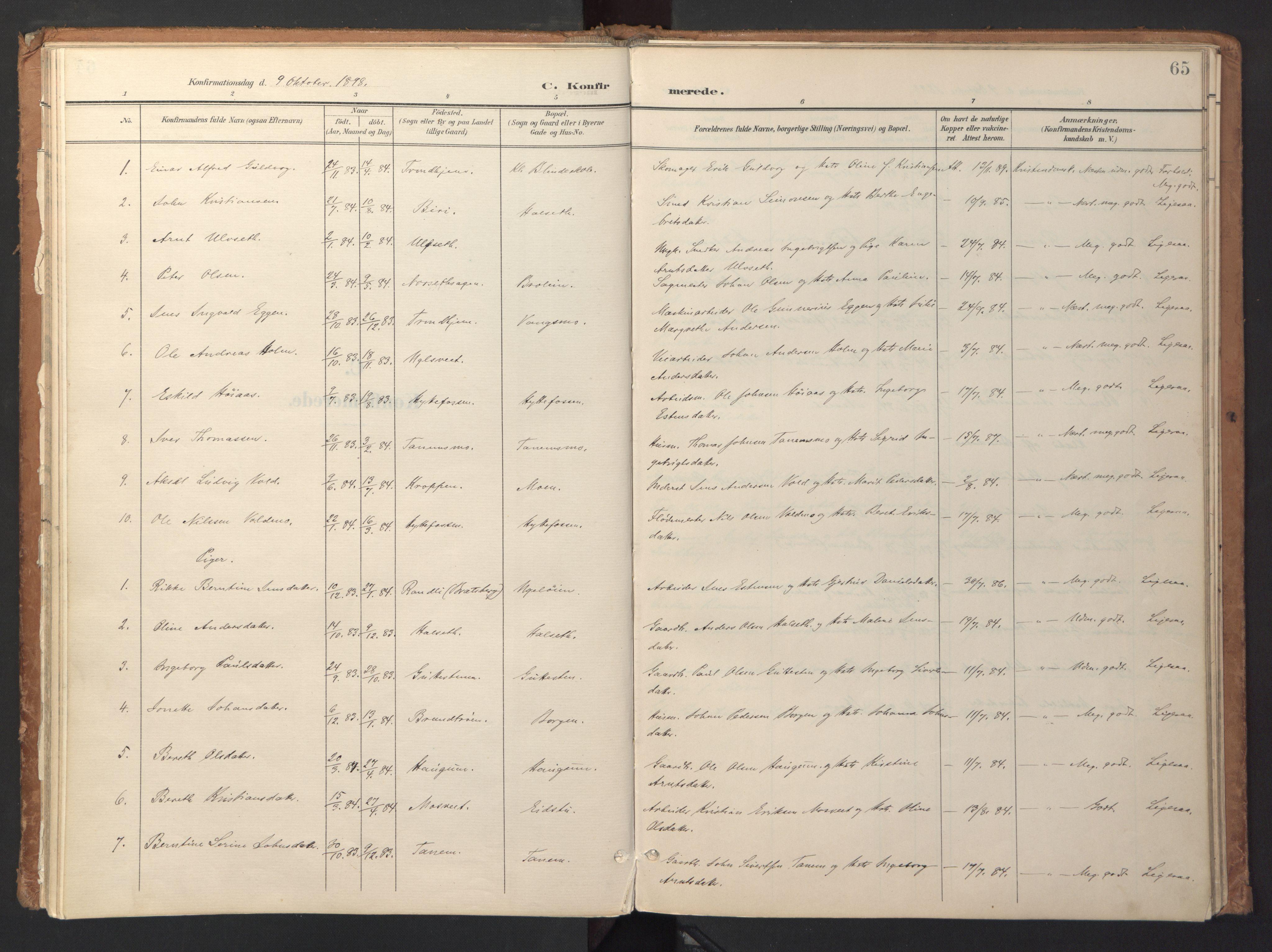 SAT, Ministerialprotokoller, klokkerbøker og fødselsregistre - Sør-Trøndelag, 618/L0448: Ministerialbok nr. 618A11, 1898-1916, s. 65