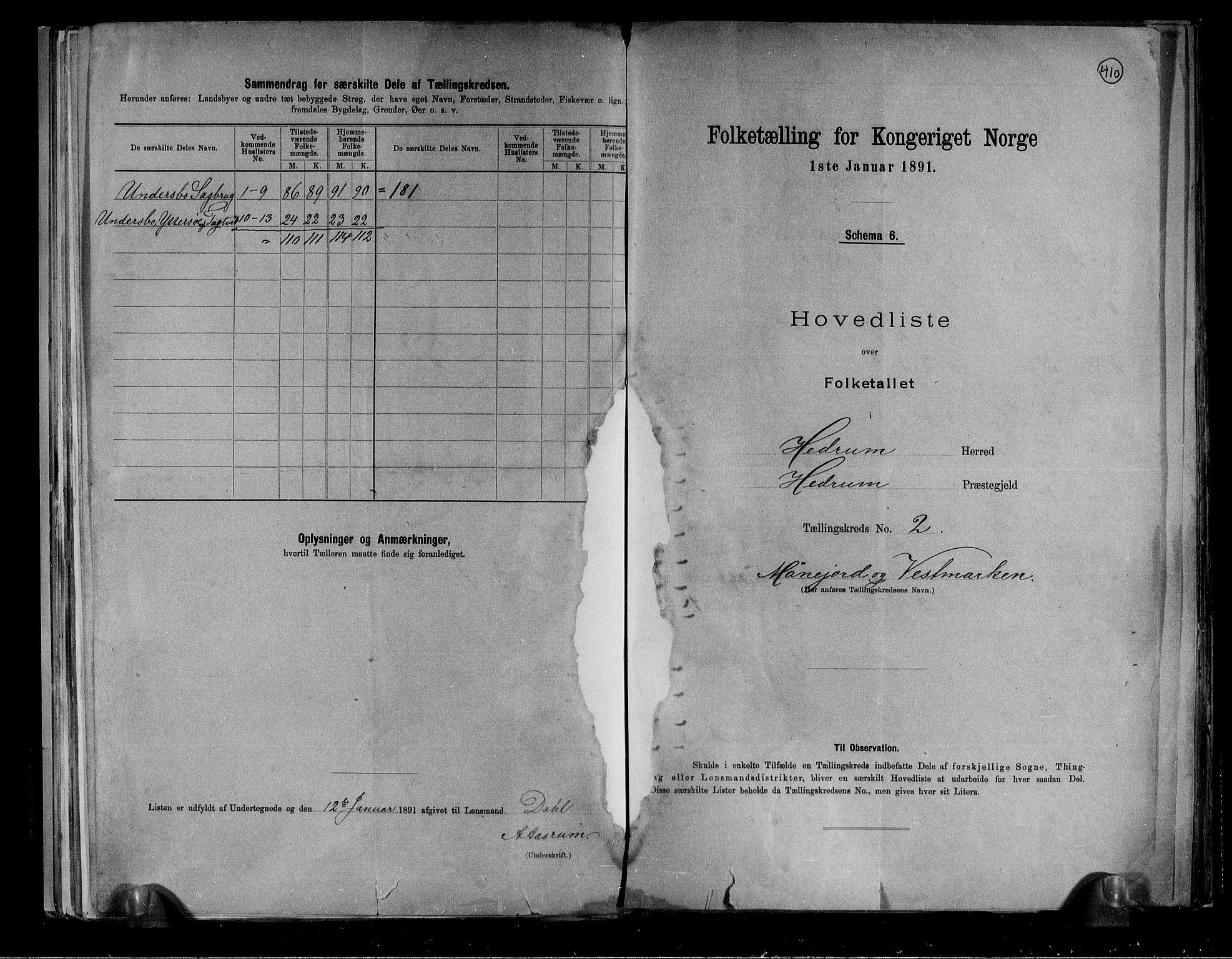 RA, Folketelling 1891 for 0727 Hedrum herred, 1891, s. 6