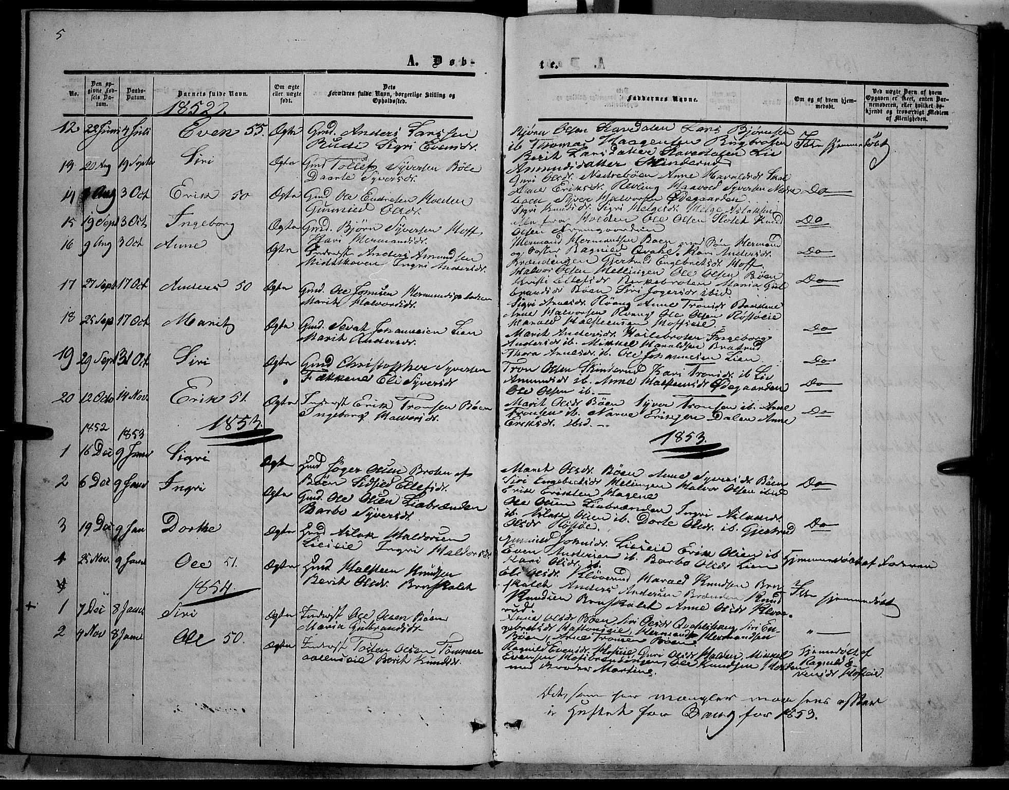 SAH, Sør-Aurdal prestekontor, Ministerialbok nr. 6, 1849-1876, s. 5