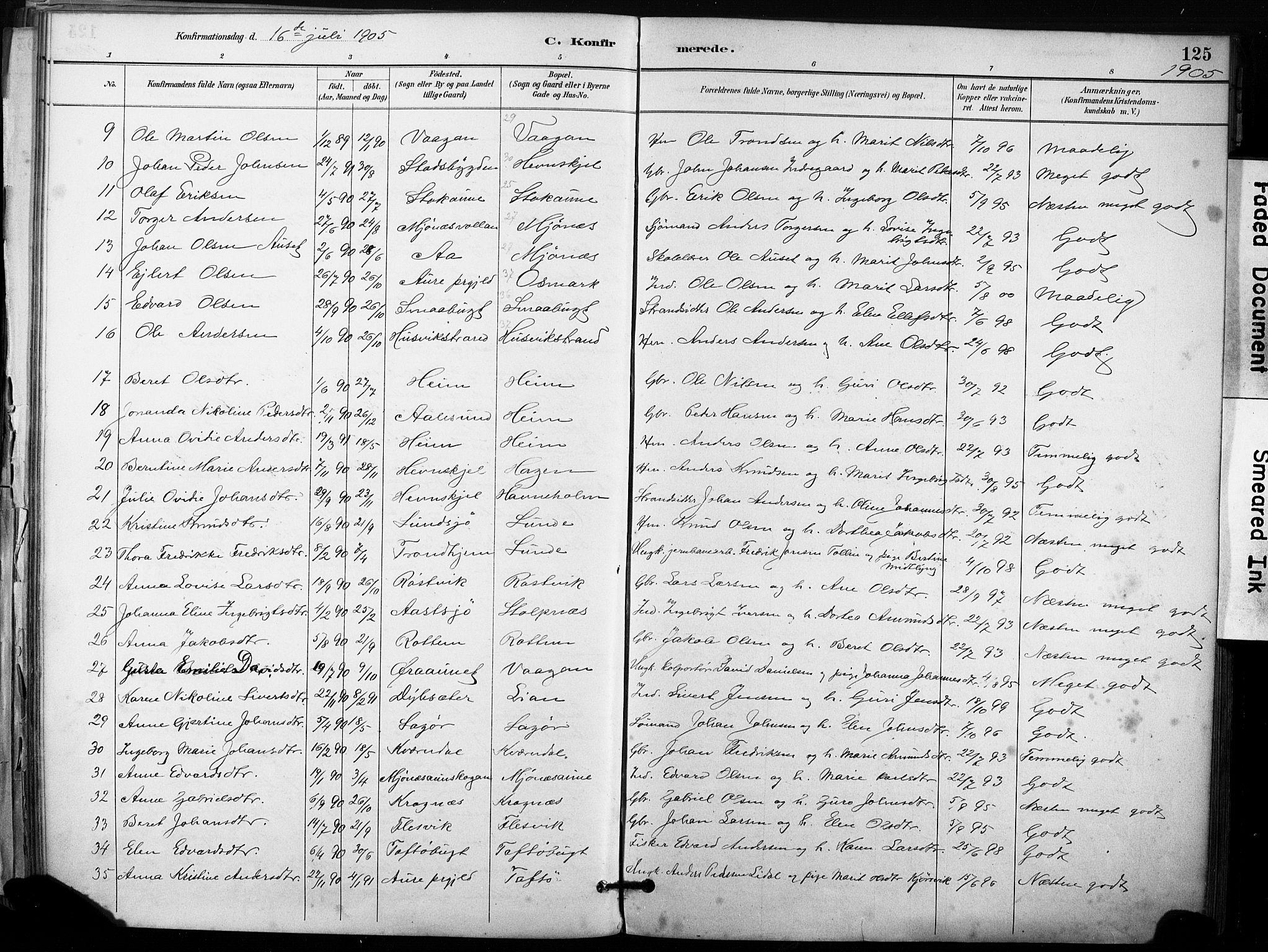 SAT, Ministerialprotokoller, klokkerbøker og fødselsregistre - Sør-Trøndelag, 633/L0518: Ministerialbok nr. 633A01, 1884-1906, s. 125
