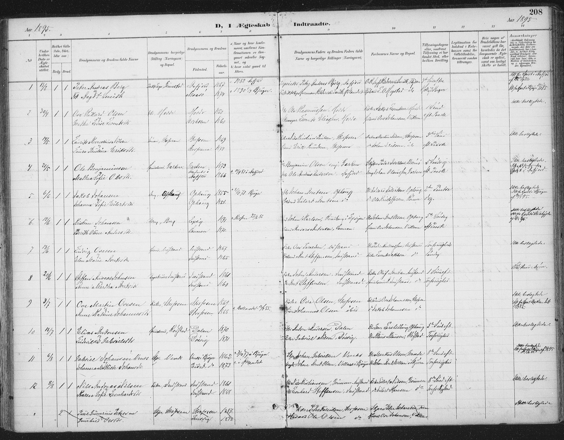 SAT, Ministerialprotokoller, klokkerbøker og fødselsregistre - Sør-Trøndelag, 659/L0743: Ministerialbok nr. 659A13, 1893-1910, s. 208