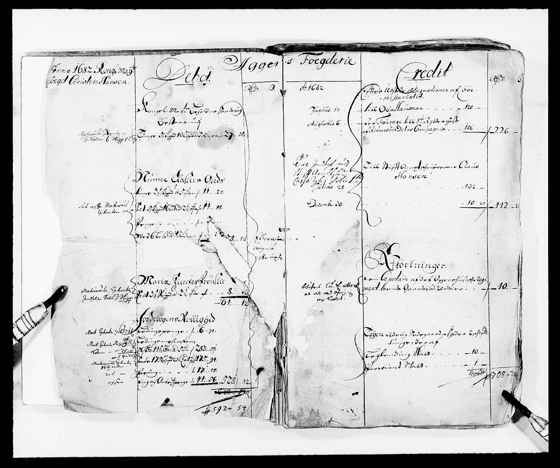 RA, Rentekammeret inntil 1814, Reviderte regnskaper, Fogderegnskap, R08/L0420: Fogderegnskap Aker, 1682-1691, s. 3