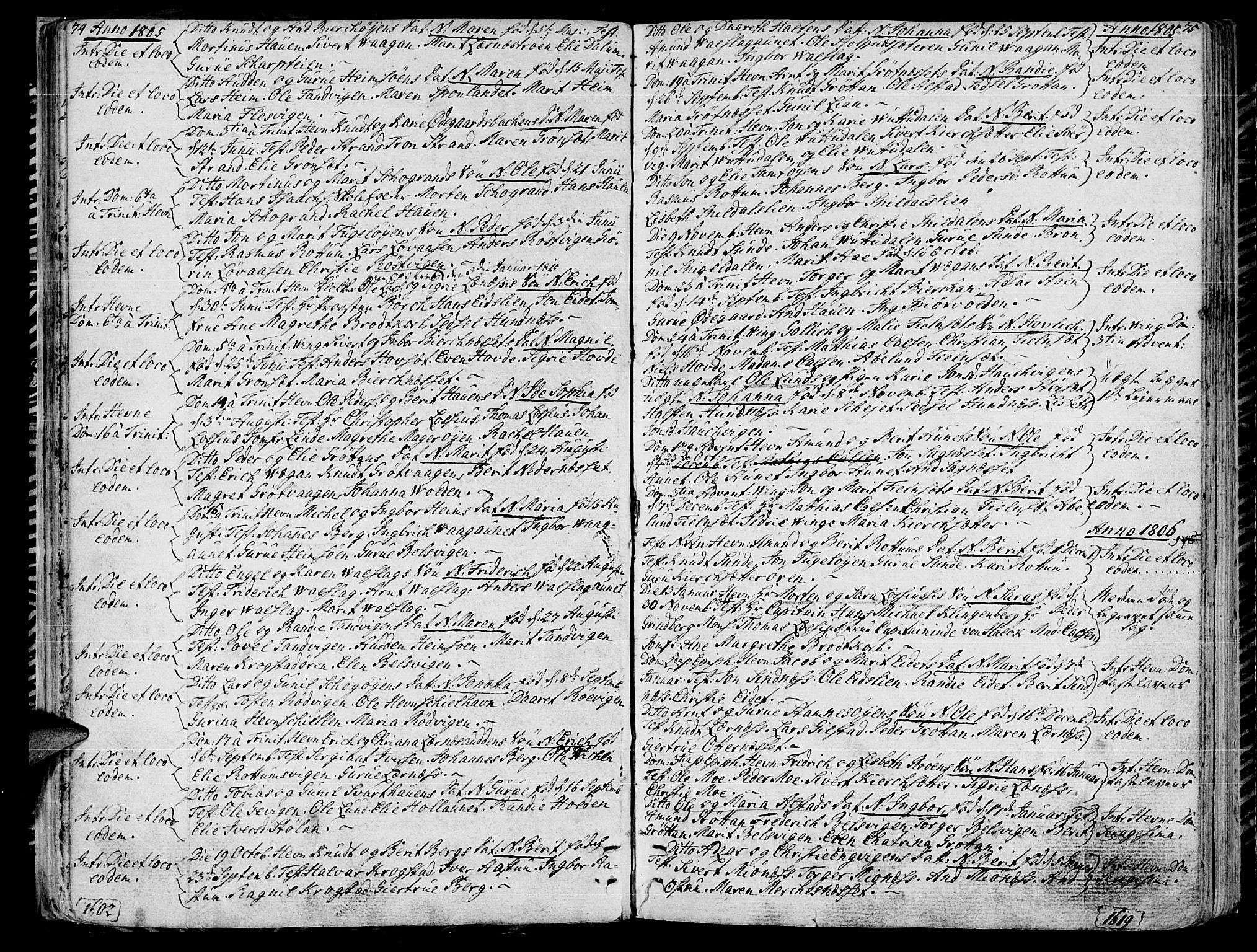 SAT, Ministerialprotokoller, klokkerbøker og fødselsregistre - Sør-Trøndelag, 630/L0490: Ministerialbok nr. 630A03, 1795-1818, s. 74-75