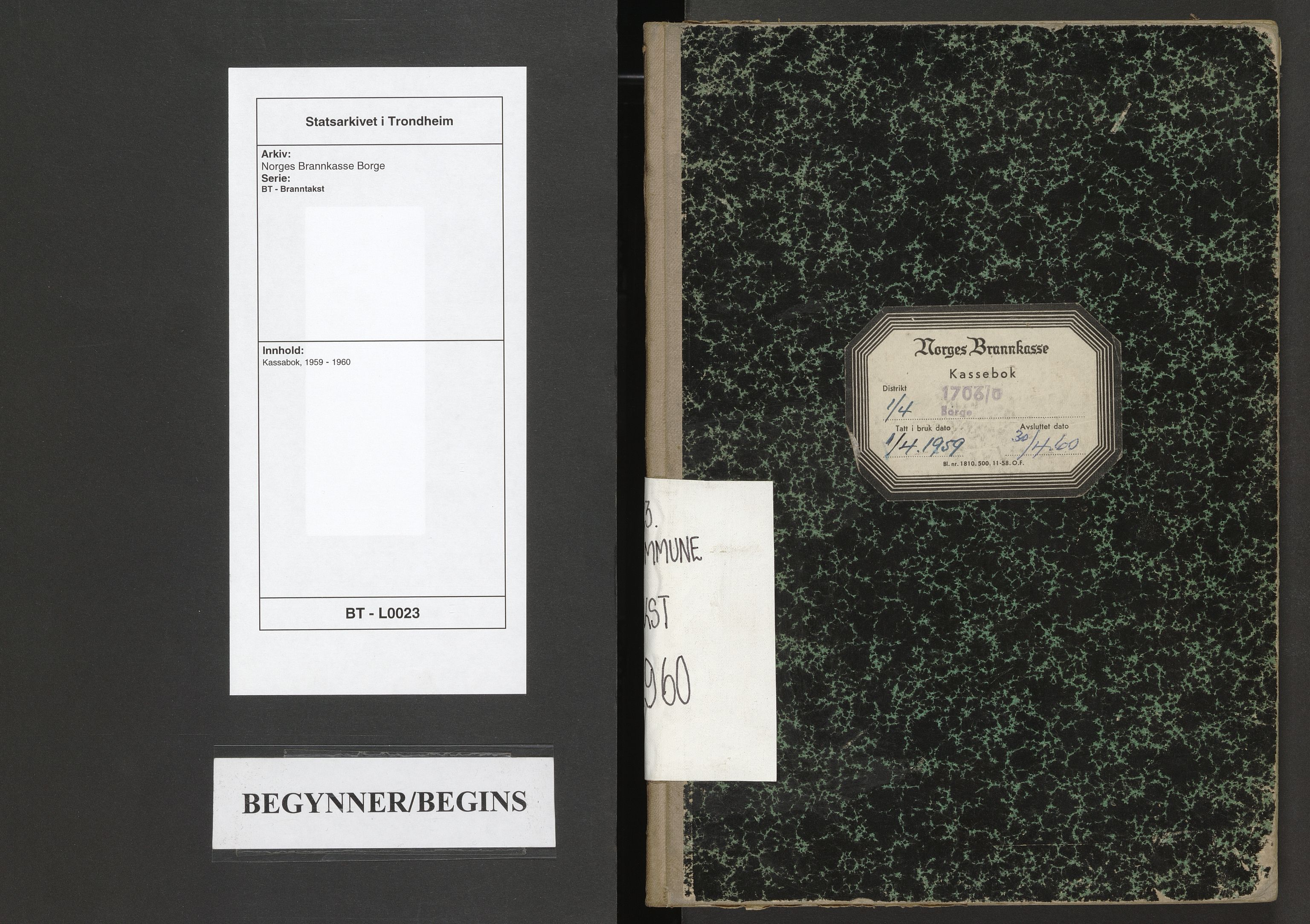 SAT, Norges Brannkasse Borge, BT/L0023: Kassabok, 1959-1960