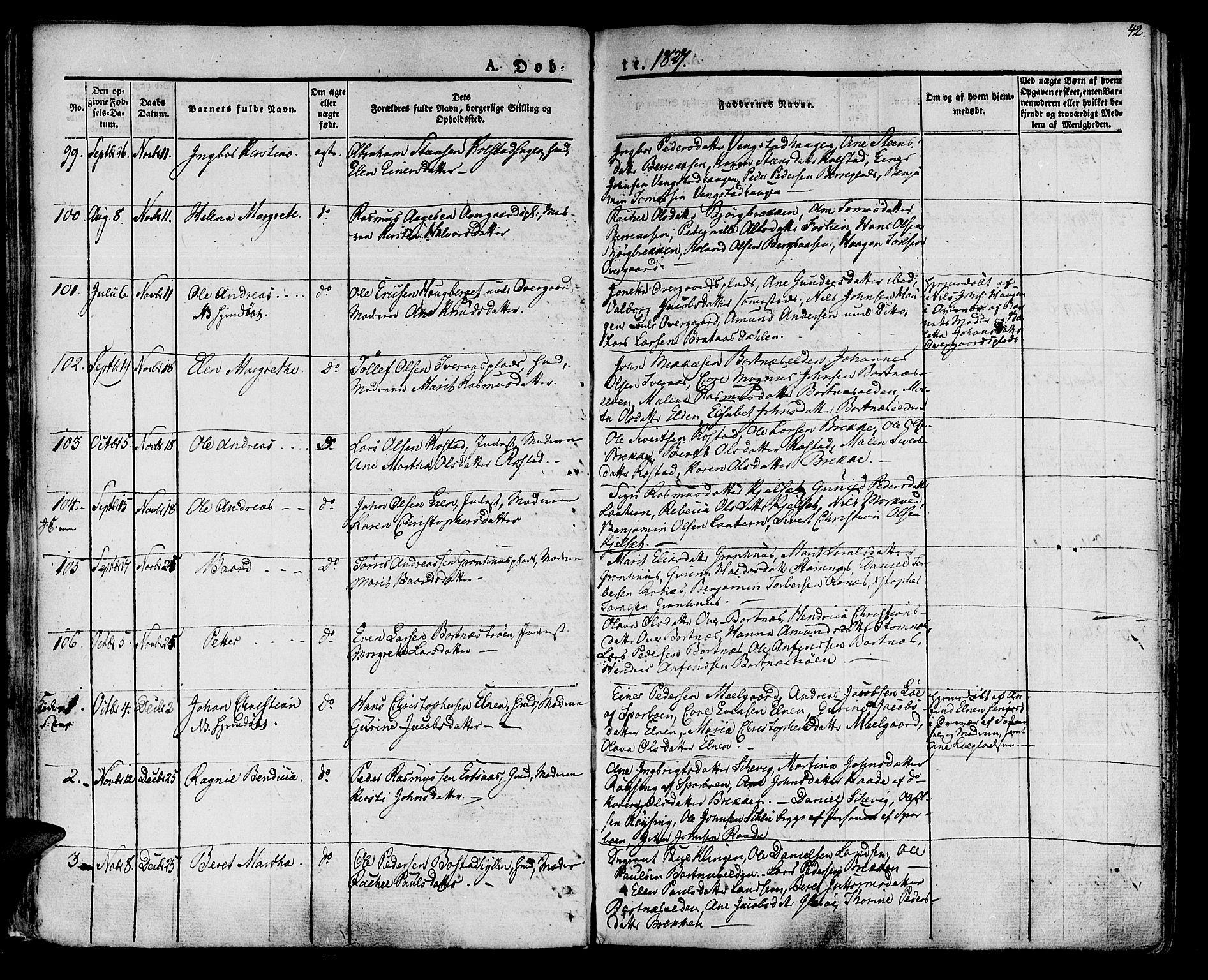 SAT, Ministerialprotokoller, klokkerbøker og fødselsregistre - Nord-Trøndelag, 741/L0390: Ministerialbok nr. 741A04, 1822-1836, s. 42