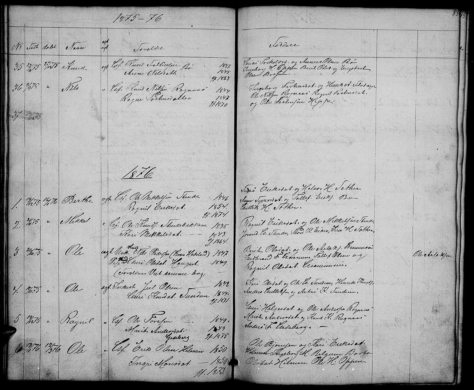 SAH, Nord-Aurdal prestekontor, Klokkerbok nr. 4, 1842-1882, s. 83