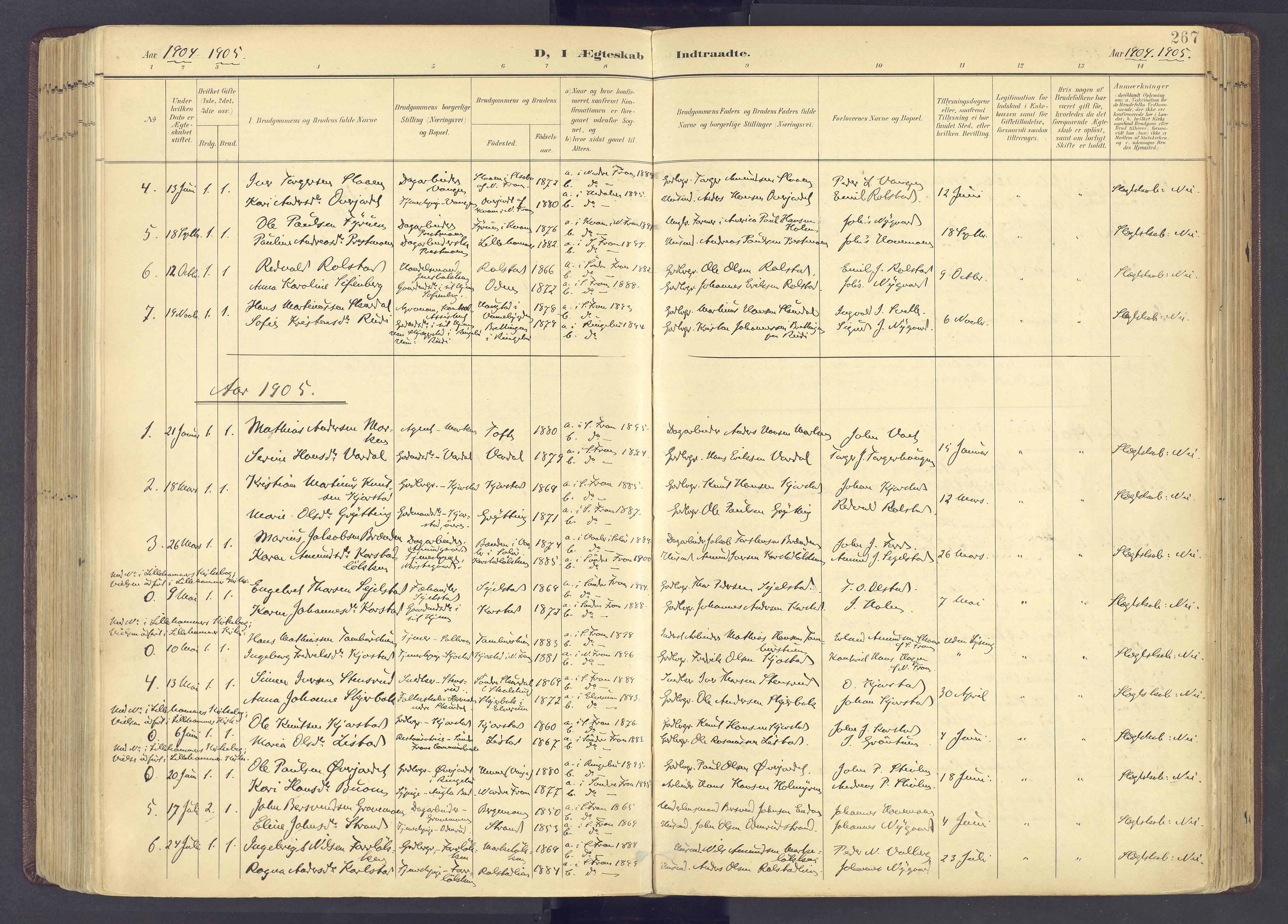 SAH, Sør-Fron prestekontor, H/Ha/Haa/L0004: Ministerialbok nr. 4, 1898-1919, s. 267