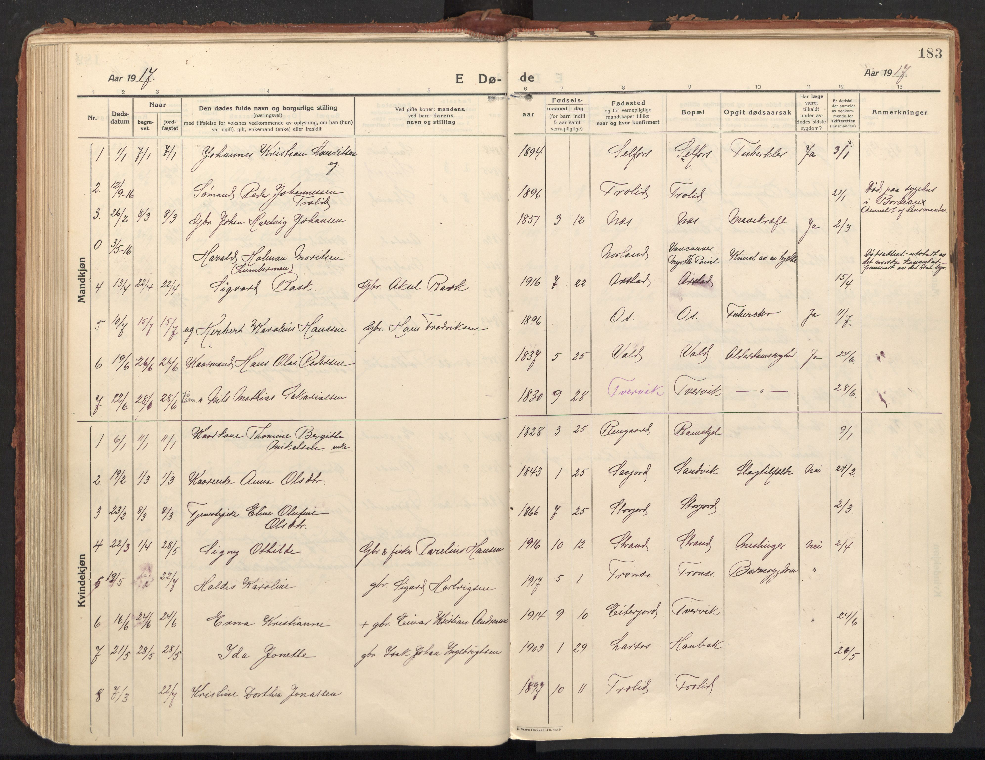 SAT, Ministerialprotokoller, klokkerbøker og fødselsregistre - Nordland, 846/L0650: Ministerialbok nr. 846A08, 1916-1935, s. 183