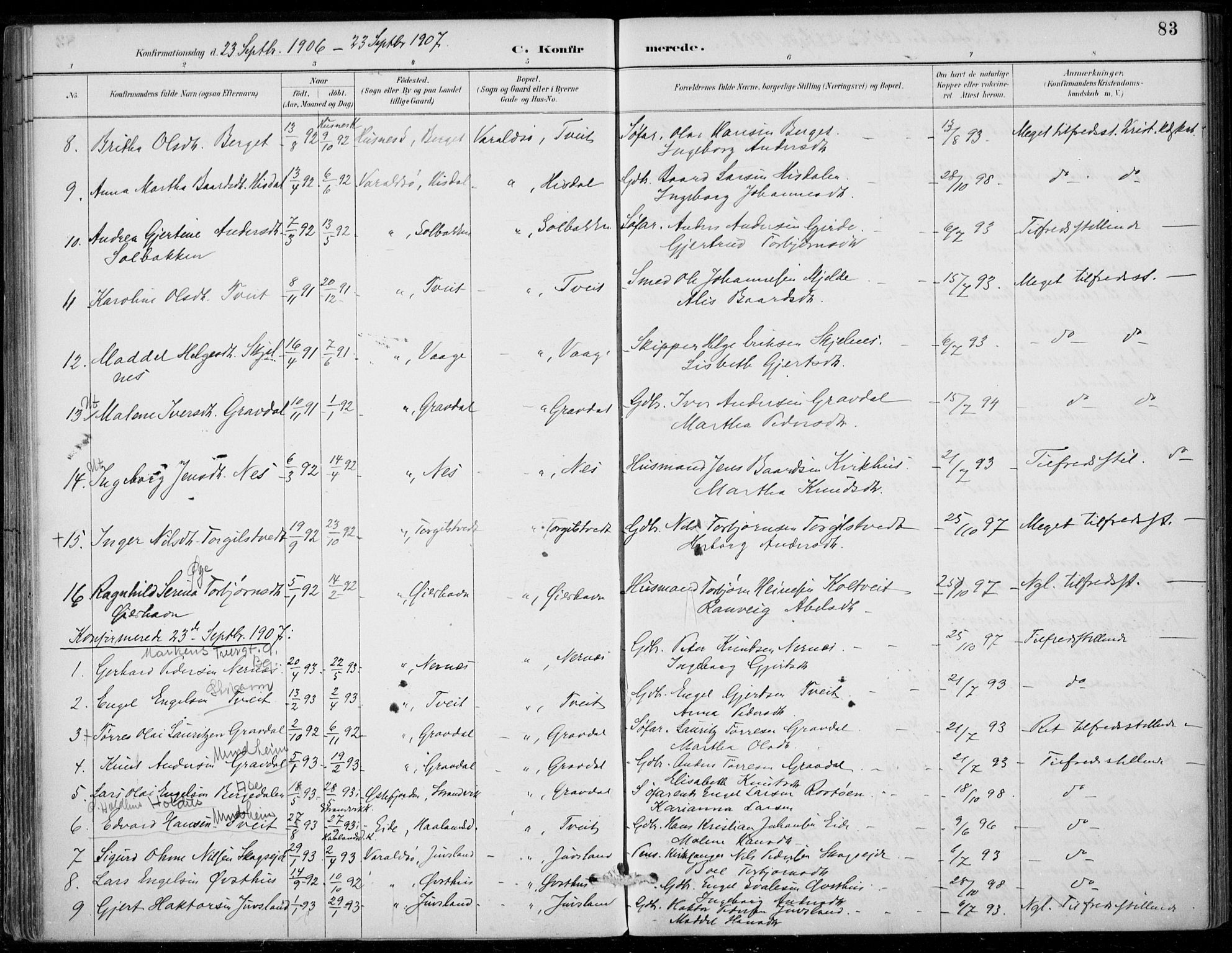 SAB, Strandebarm sokneprestembete, H/Haa: Ministerialbok nr. D  1, 1886-1912, s. 83