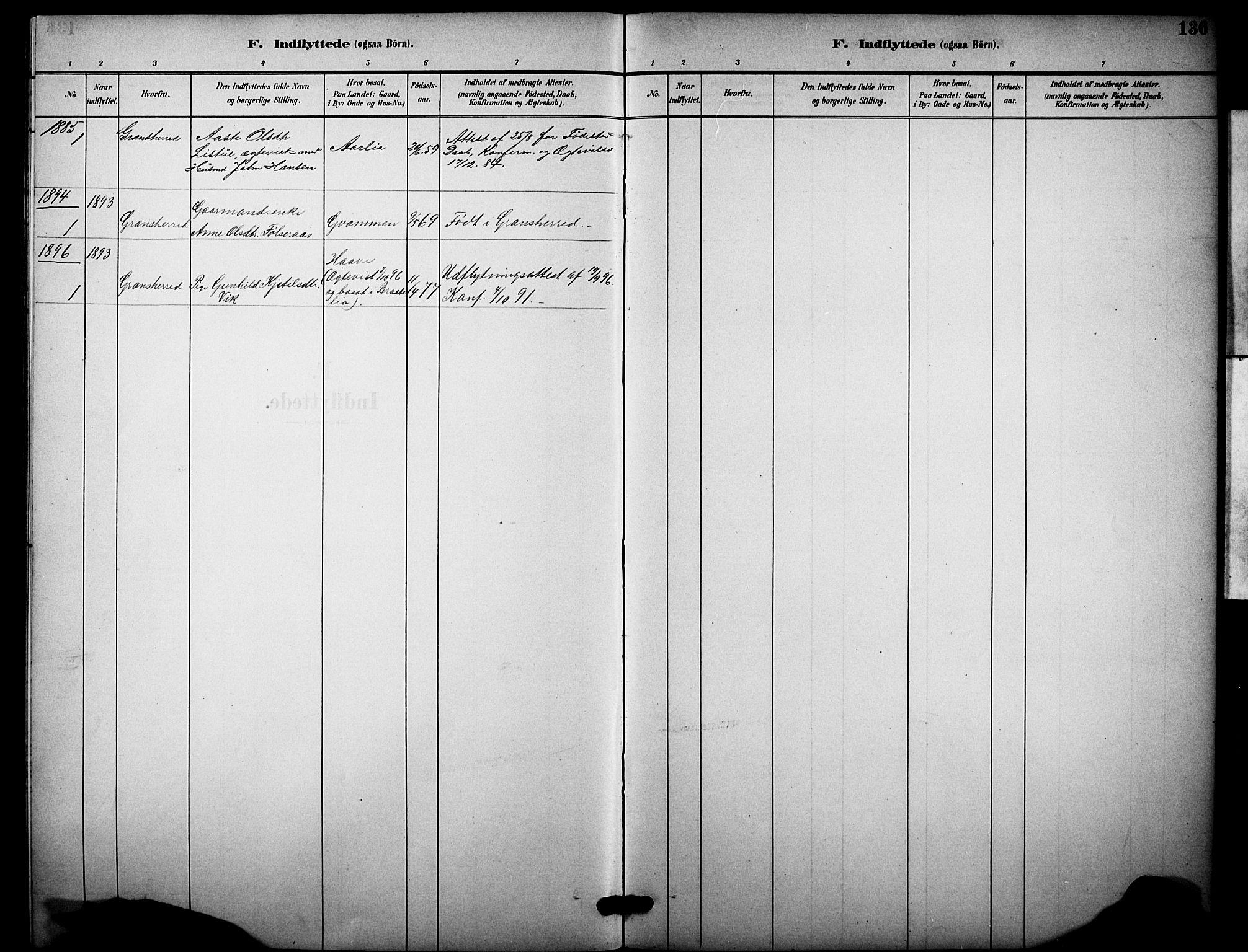 SAKO, Heddal kirkebøker, F/Fb/L0001: Ministerialbok nr. II 1, 1884-1910, s. 136