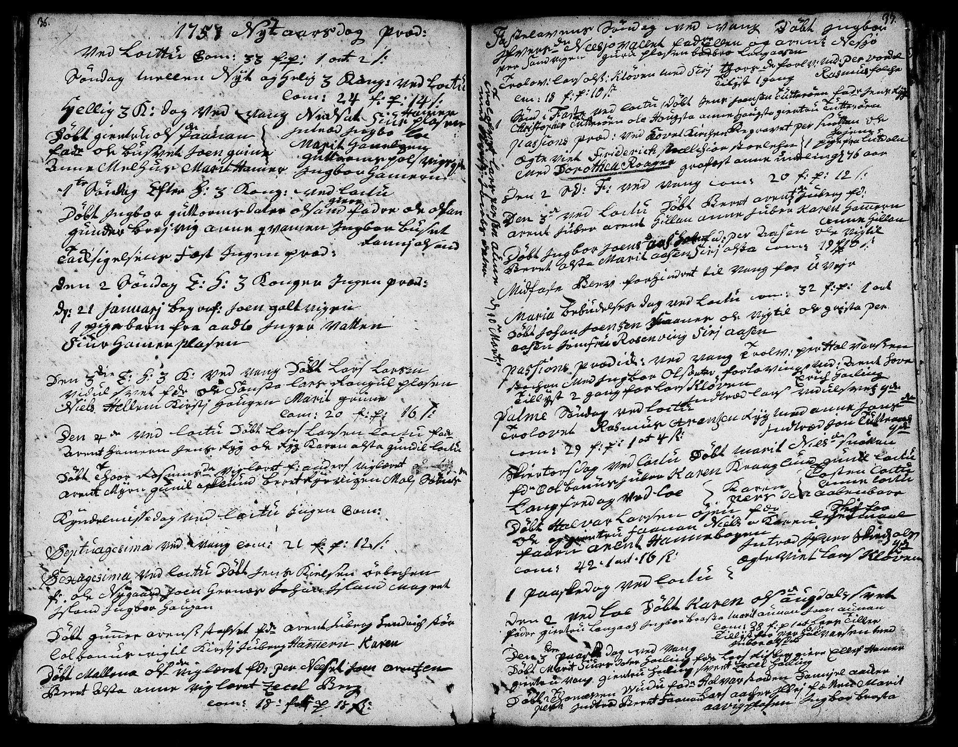 SAT, Ministerialprotokoller, klokkerbøker og fødselsregistre - Nord-Trøndelag, 713/L0109: Ministerialbok nr. 713A01, 1750-1778, s. 36-37