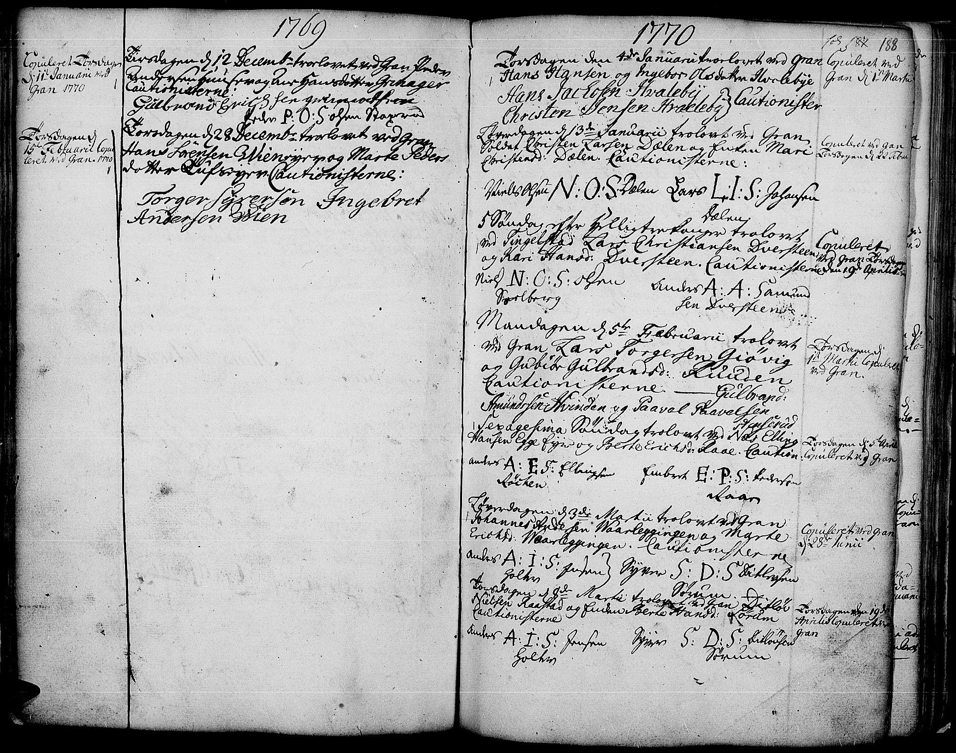 SAH, Gran prestekontor, Ministerialbok nr. 4, 1759-1775, s. 188