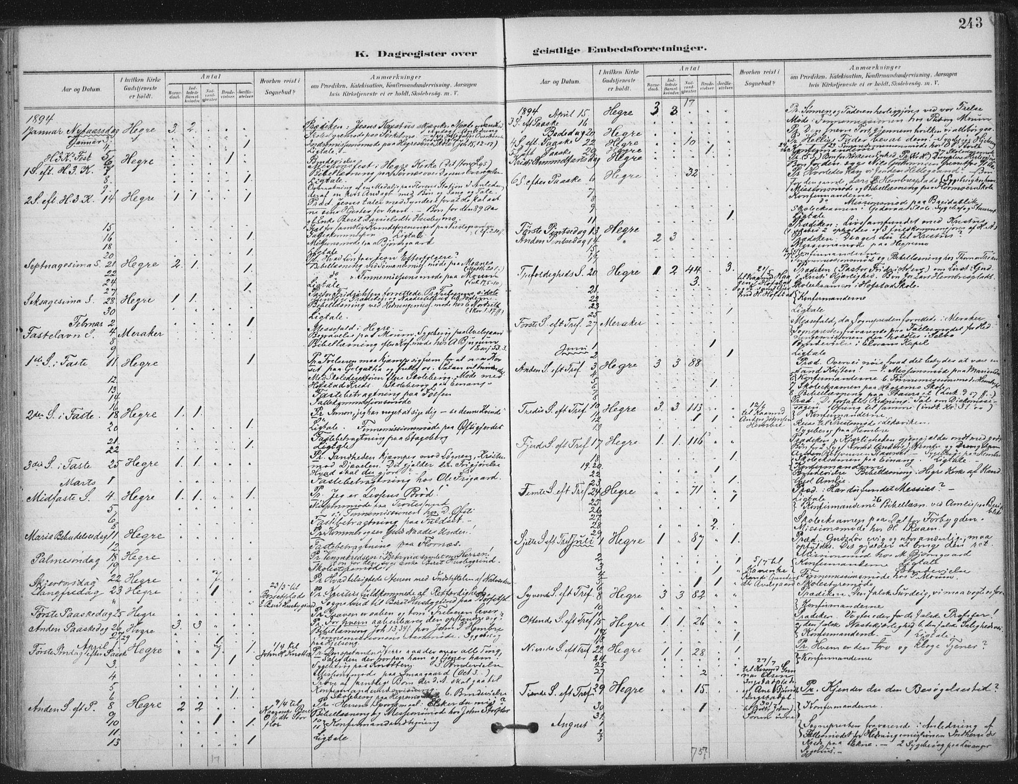 SAT, Ministerialprotokoller, klokkerbøker og fødselsregistre - Nord-Trøndelag, 703/L0031: Ministerialbok nr. 703A04, 1893-1914, s. 243