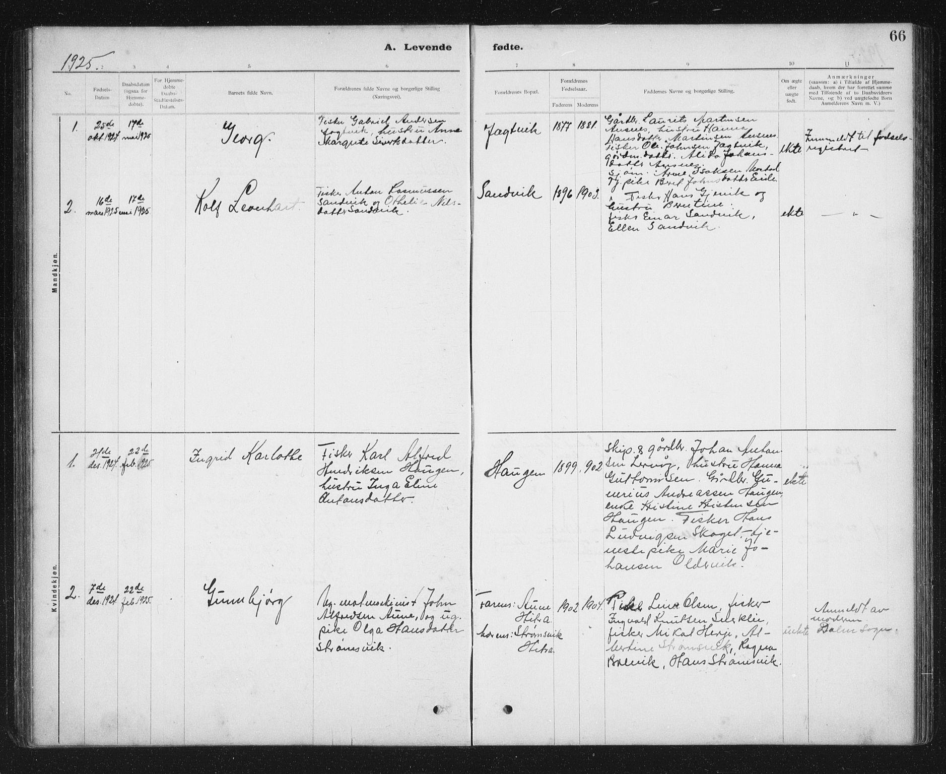SAT, Ministerialprotokoller, klokkerbøker og fødselsregistre - Sør-Trøndelag, 637/L0563: Klokkerbok nr. 637C04, 1899-1940, s. 66