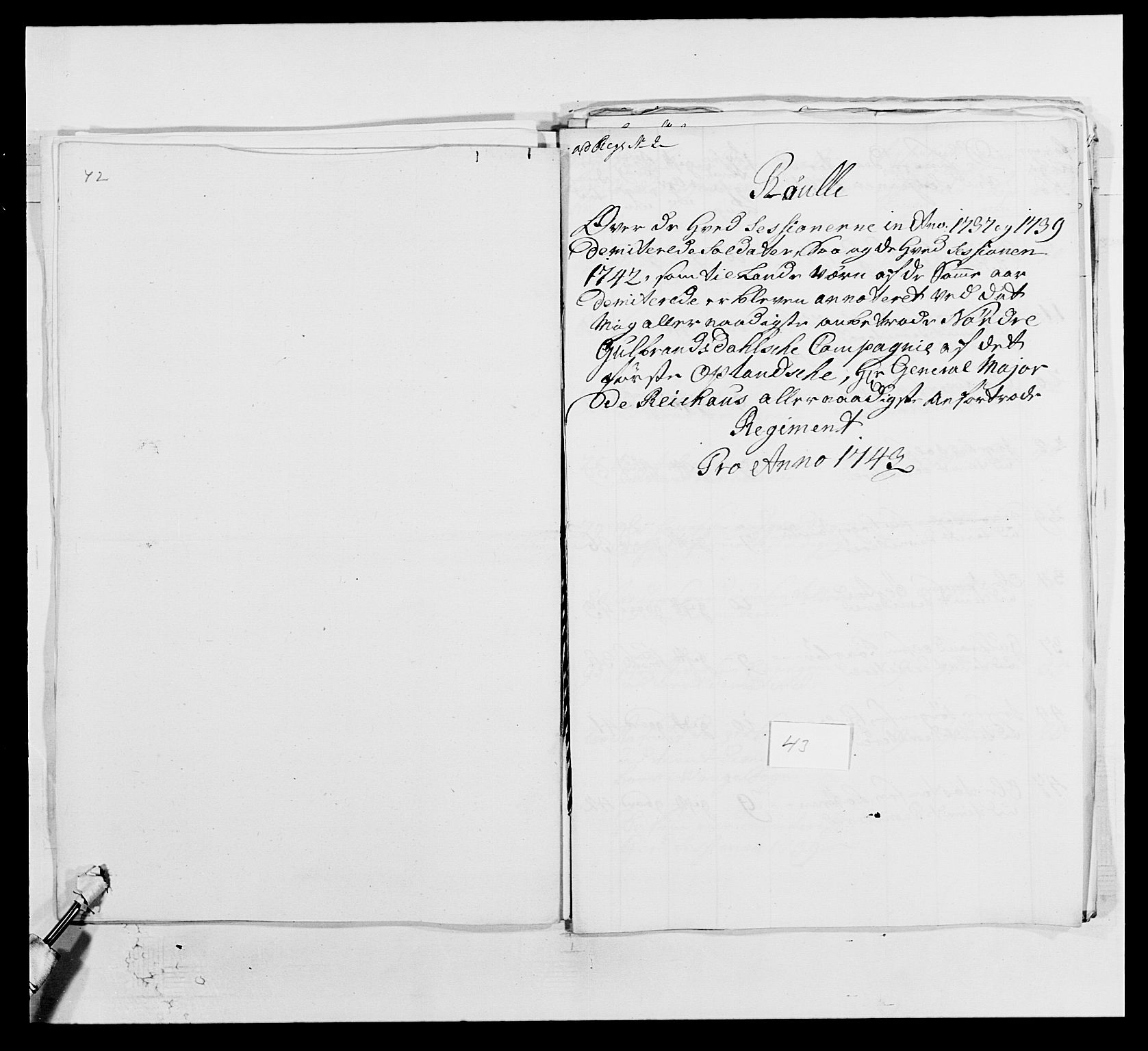 RA, Kommanderende general (KG I) med Det norske krigsdirektorium, E/Ea/L0502: 1. Opplandske regiment, 1720-1743, s. 520