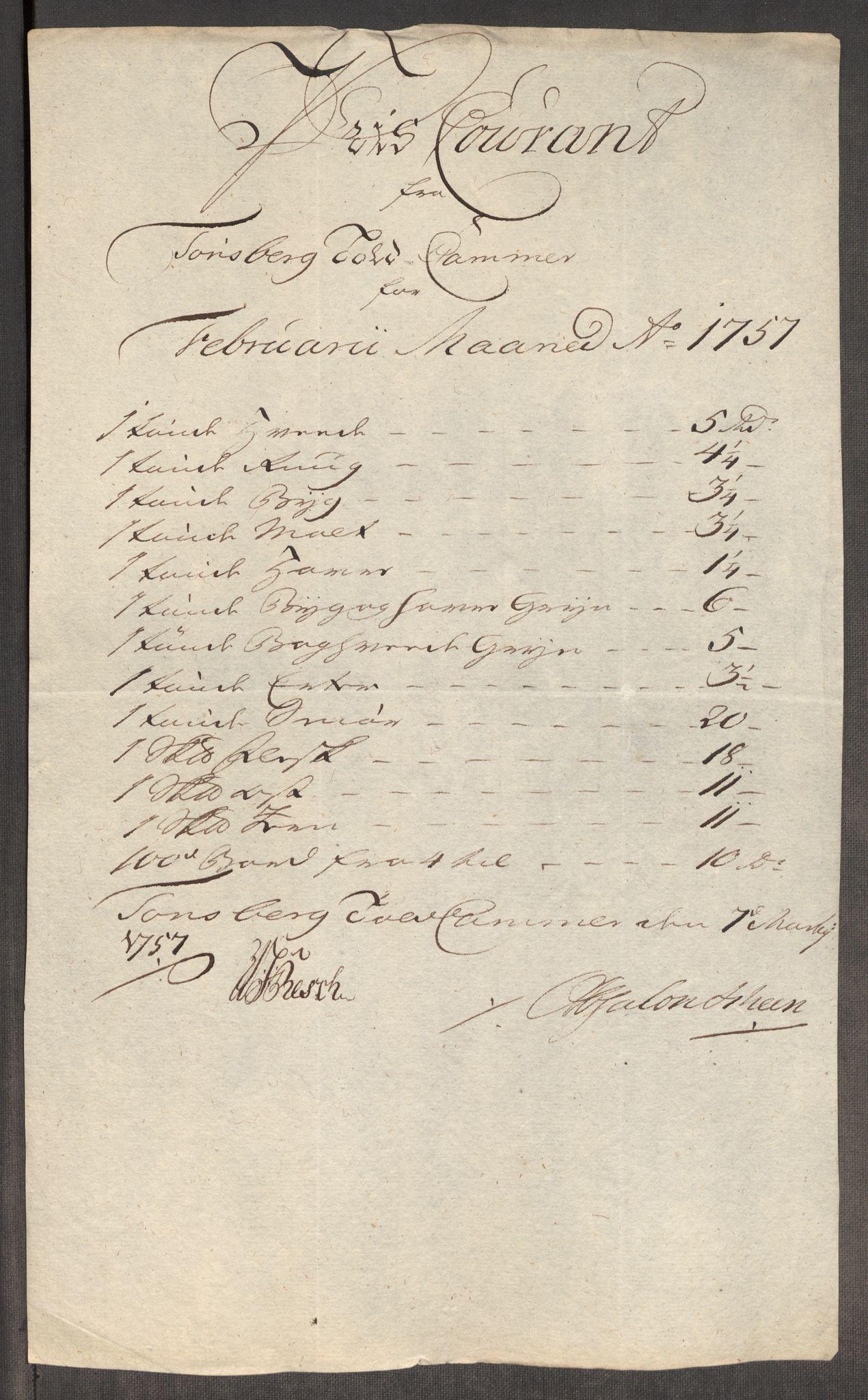 RA, Rentekammeret inntil 1814, Realistisk ordnet avdeling, Oe/L0005: [Ø1]: Priskuranter, 1753-1757, s. 784