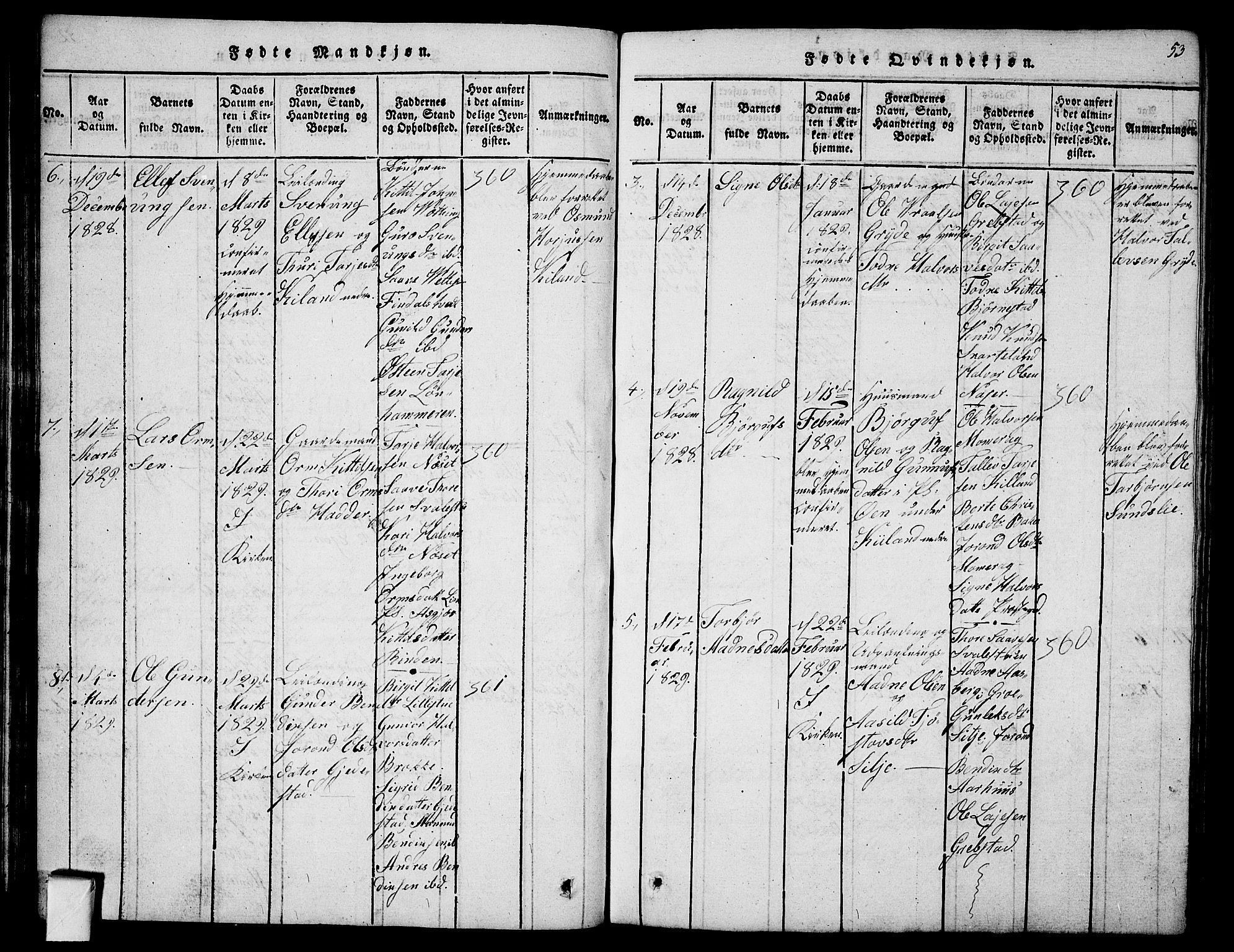 SAKO, Fyresdal kirkebøker, G/Ga/L0001: Klokkerbok nr. I 1, 1816-1840, s. 53