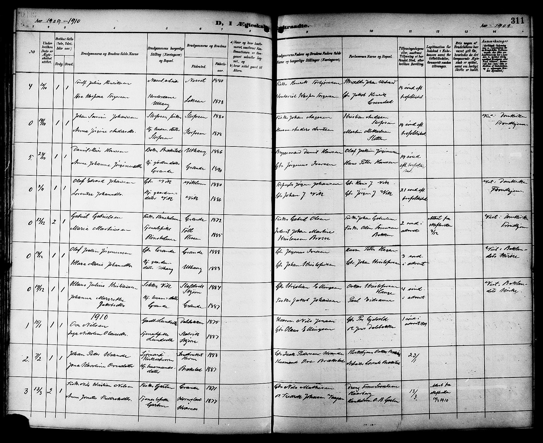 SAT, Ministerialprotokoller, klokkerbøker og fødselsregistre - Sør-Trøndelag, 659/L0746: Klokkerbok nr. 659C03, 1893-1912, s. 311