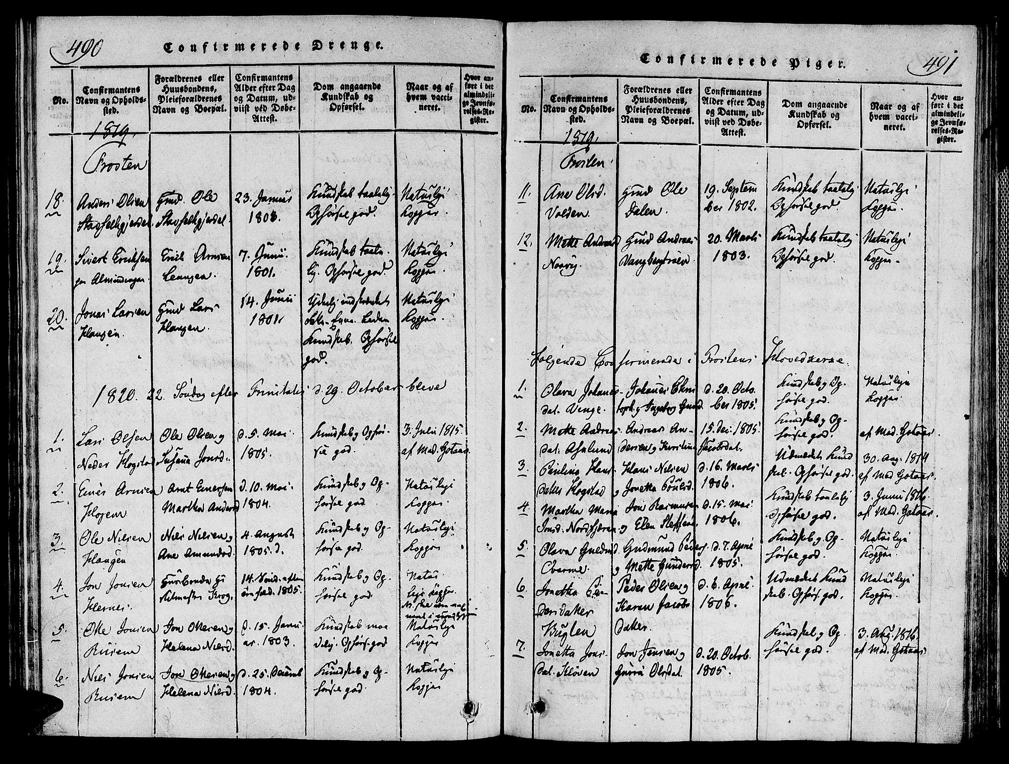 SAT, Ministerialprotokoller, klokkerbøker og fødselsregistre - Nord-Trøndelag, 713/L0112: Ministerialbok nr. 713A04 /1, 1817-1827, s. 490-491