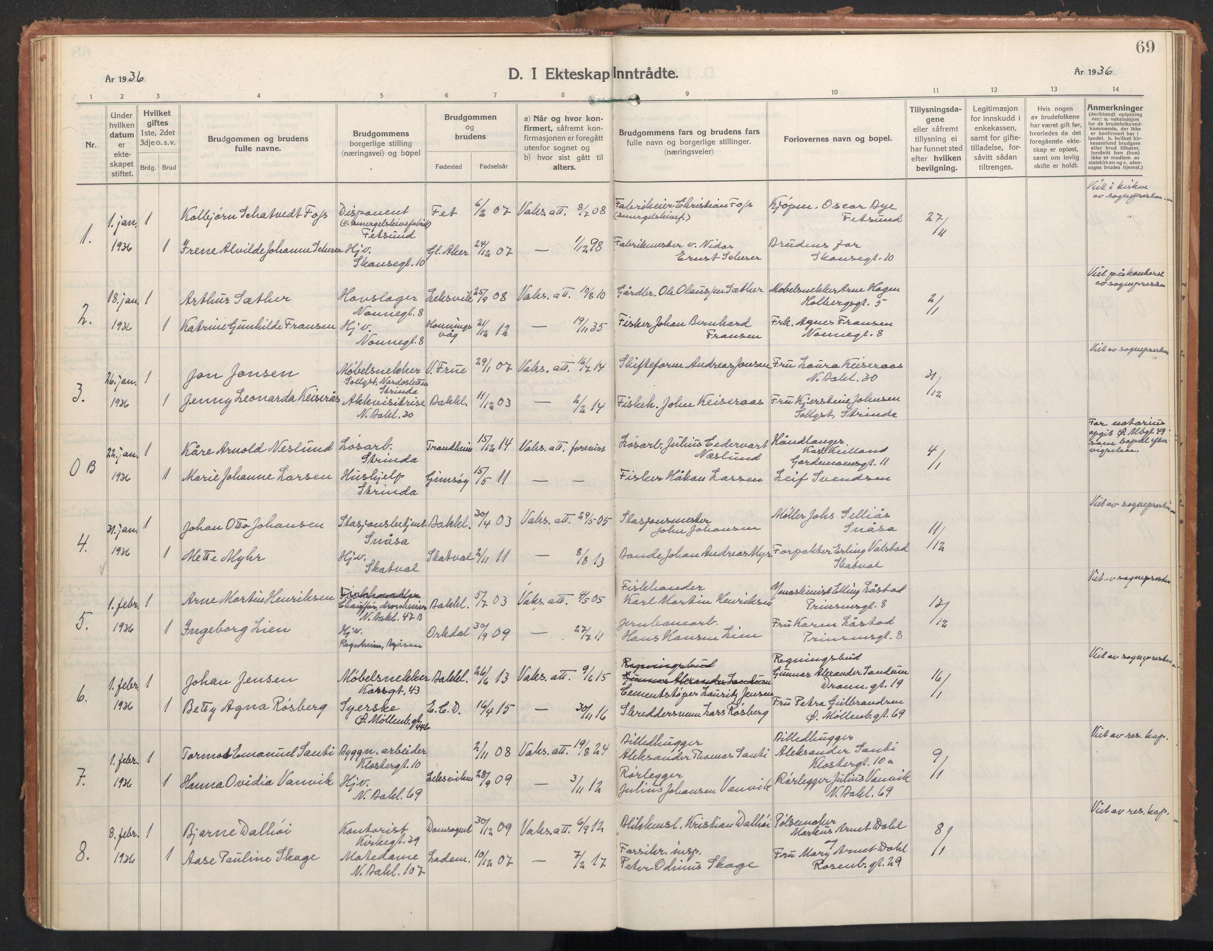SAT, Ministerialprotokoller, klokkerbøker og fødselsregistre - Sør-Trøndelag, 604/L0209: Ministerialbok nr. 604A29, 1931-1945, s. 69