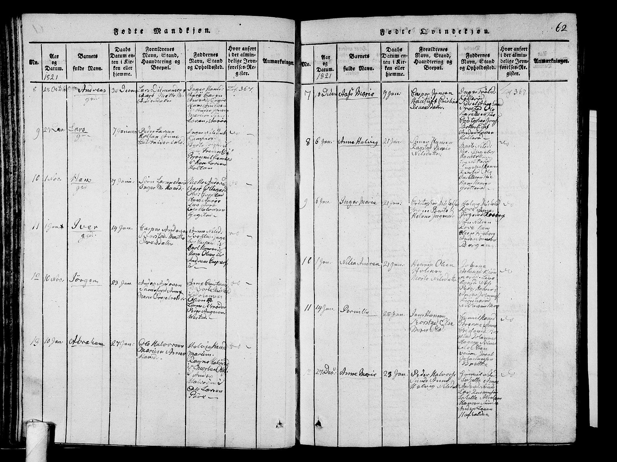SAKO, Sandar kirkebøker, G/Ga/L0001: Klokkerbok nr. 1, 1814-1835, s. 62