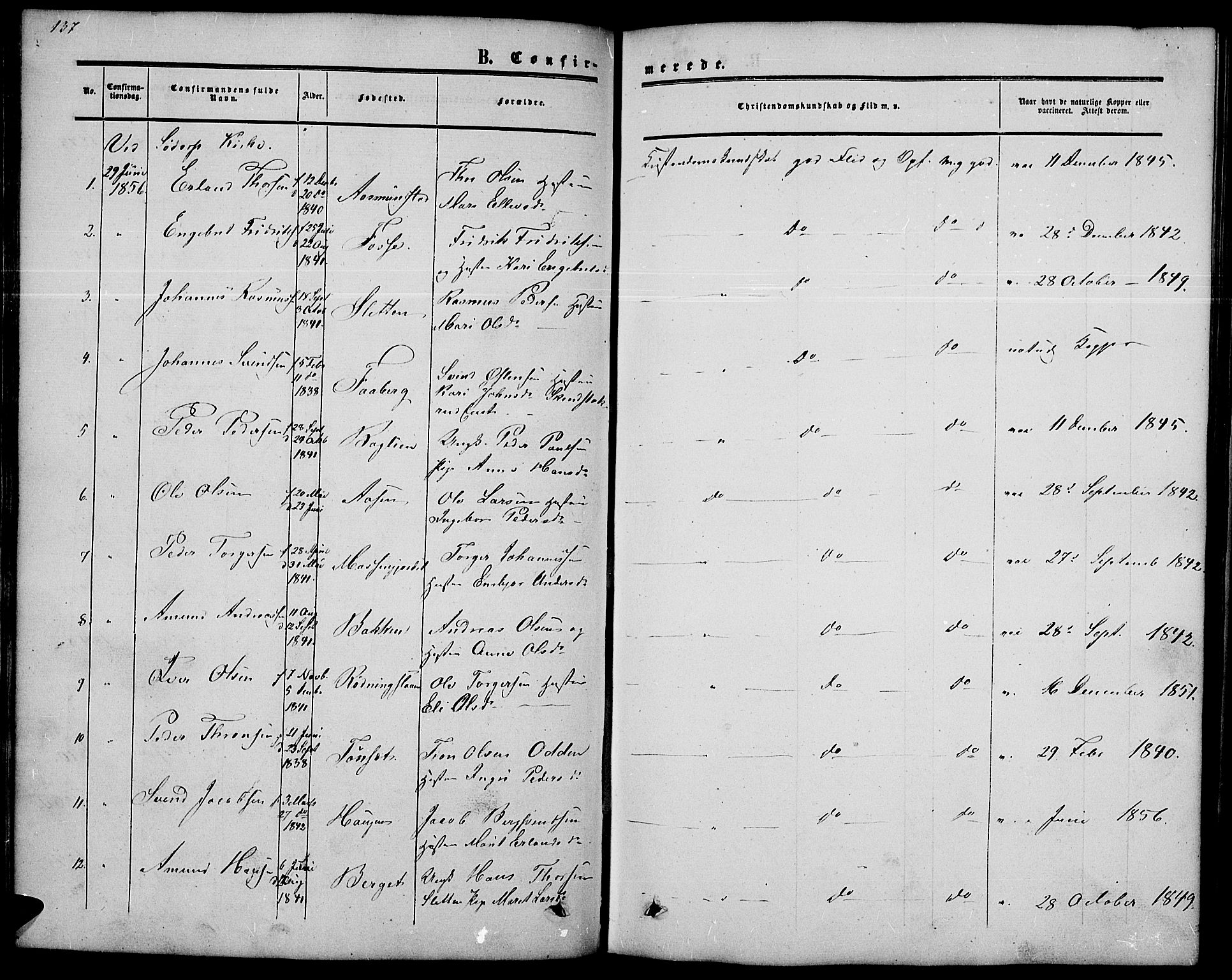 SAH, Nord-Fron prestekontor, Klokkerbok nr. 2, 1851-1883, s. 137