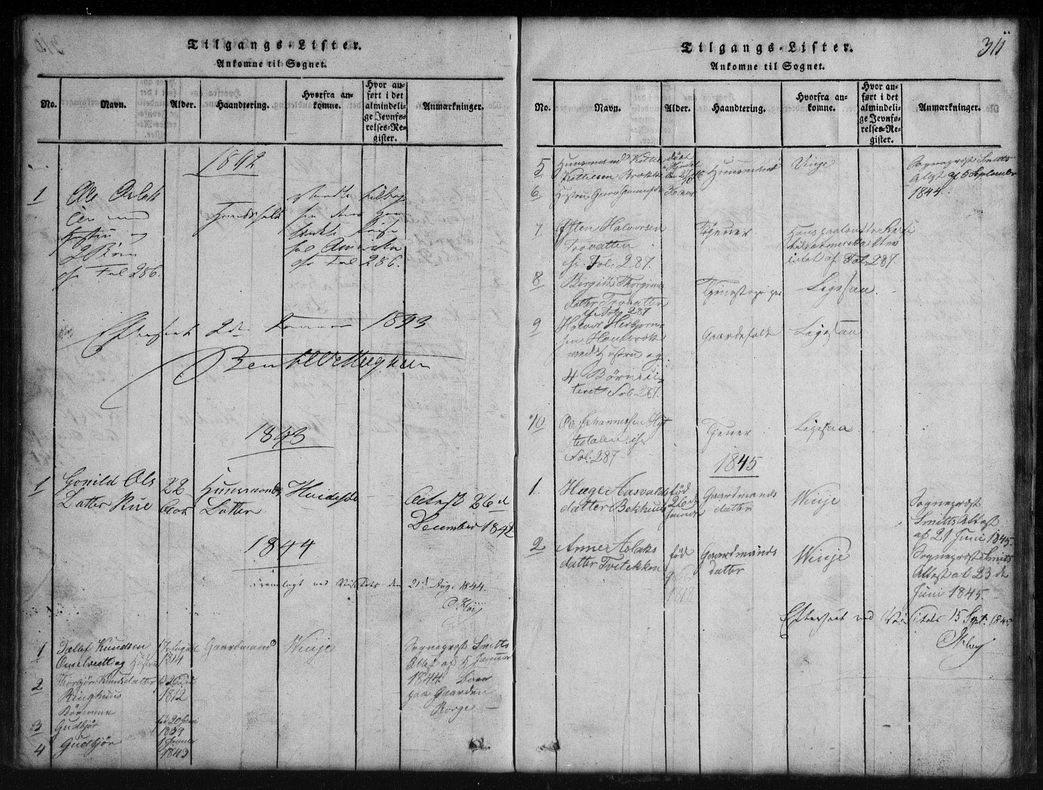 SAKO, Rauland kirkebøker, G/Gb/L0001: Klokkerbok nr. II 1, 1815-1886, s. 311