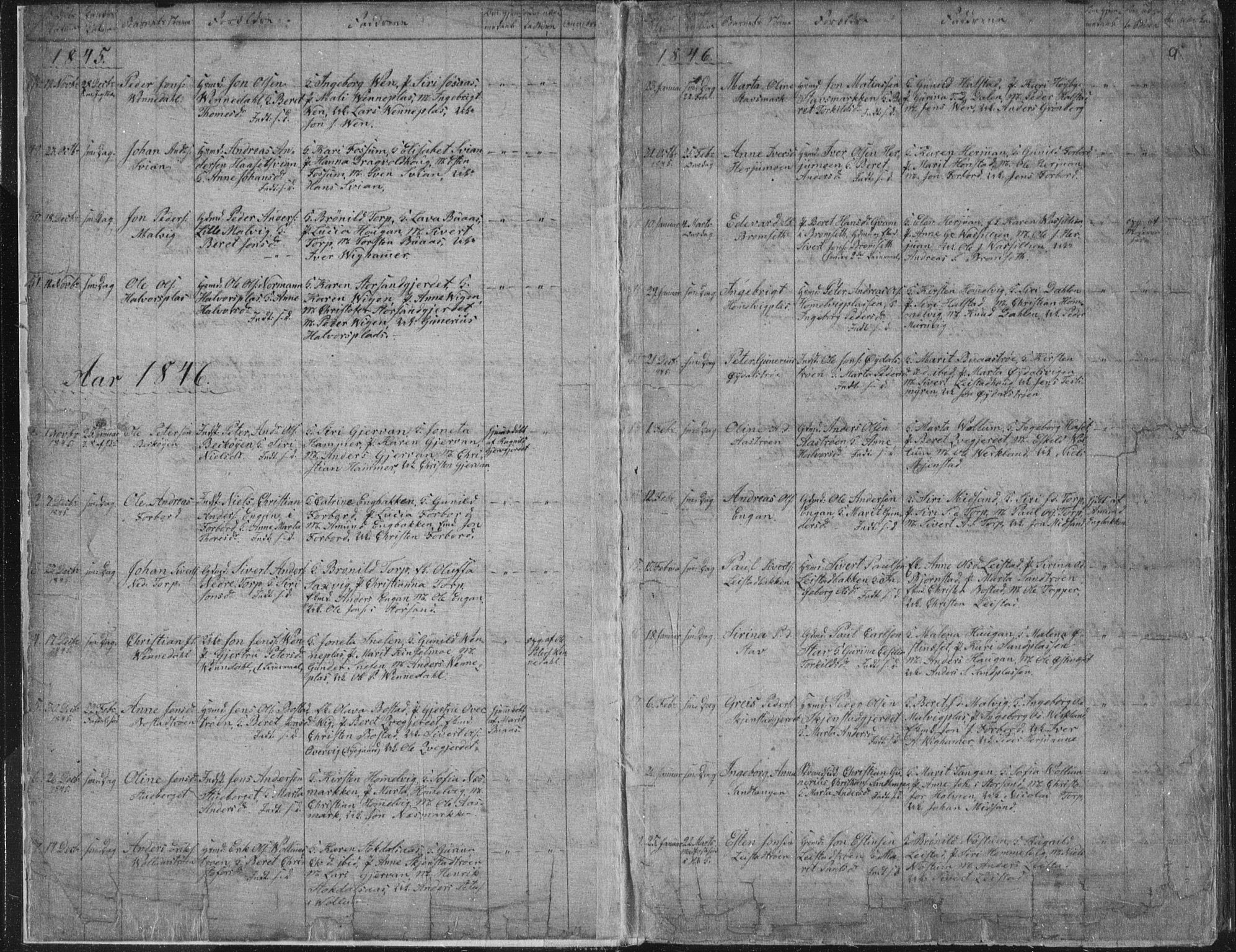 SAT, Ministerialprotokoller, klokkerbøker og fødselsregistre - Sør-Trøndelag, 616/L0406: Ministerialbok nr. 616A03, 1843-1879, s. 9