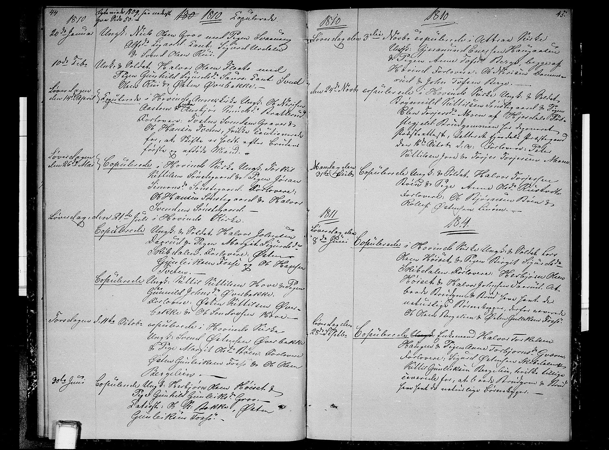 SAKO, Gransherad kirkebøker, F/Fb/L0001: Ministerialbok nr. II 1, 1800-1814, s. 44-45