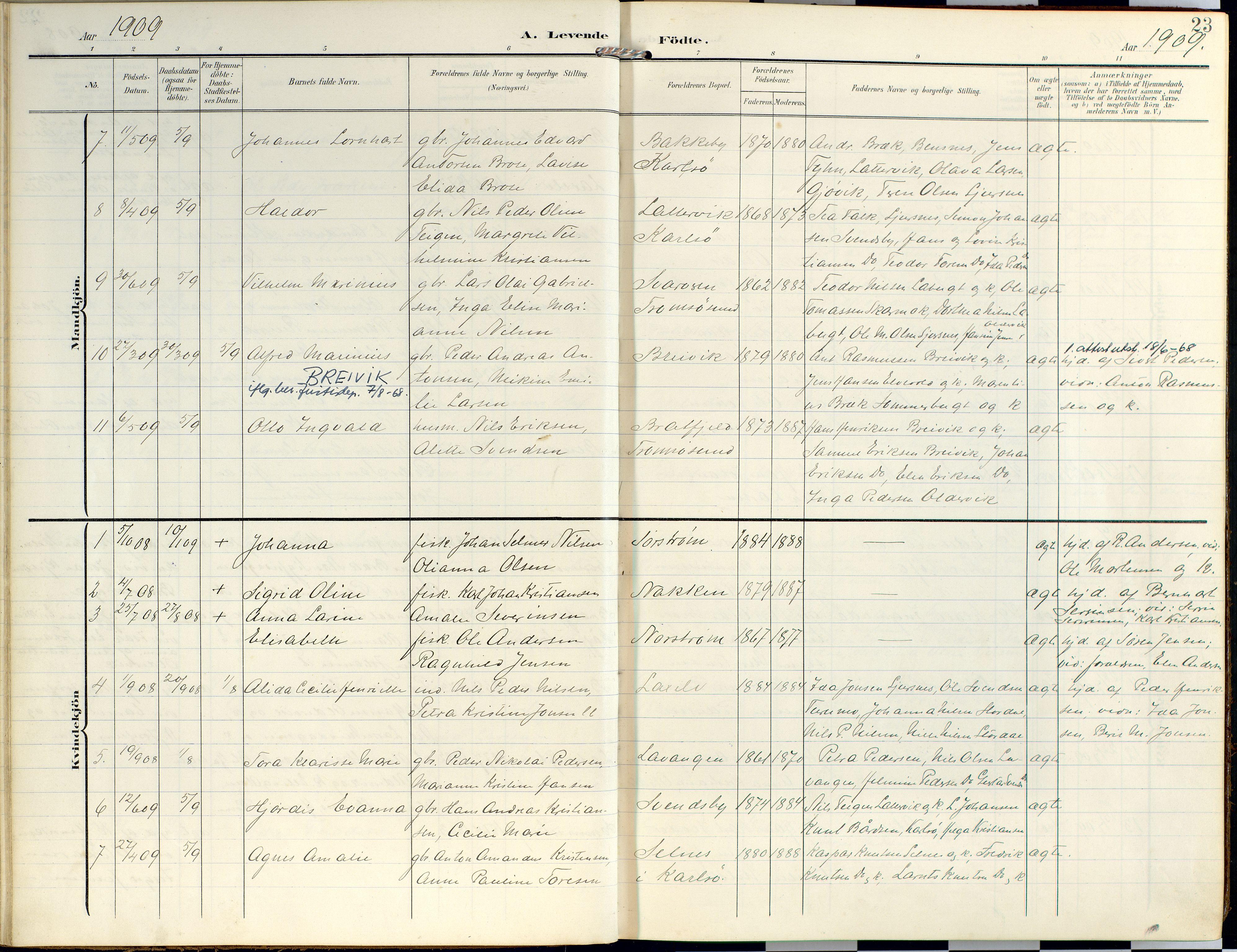 SATØ, Lyngen sokneprestembete, Ministerialbok nr. 14, 1905-1920, s. 23