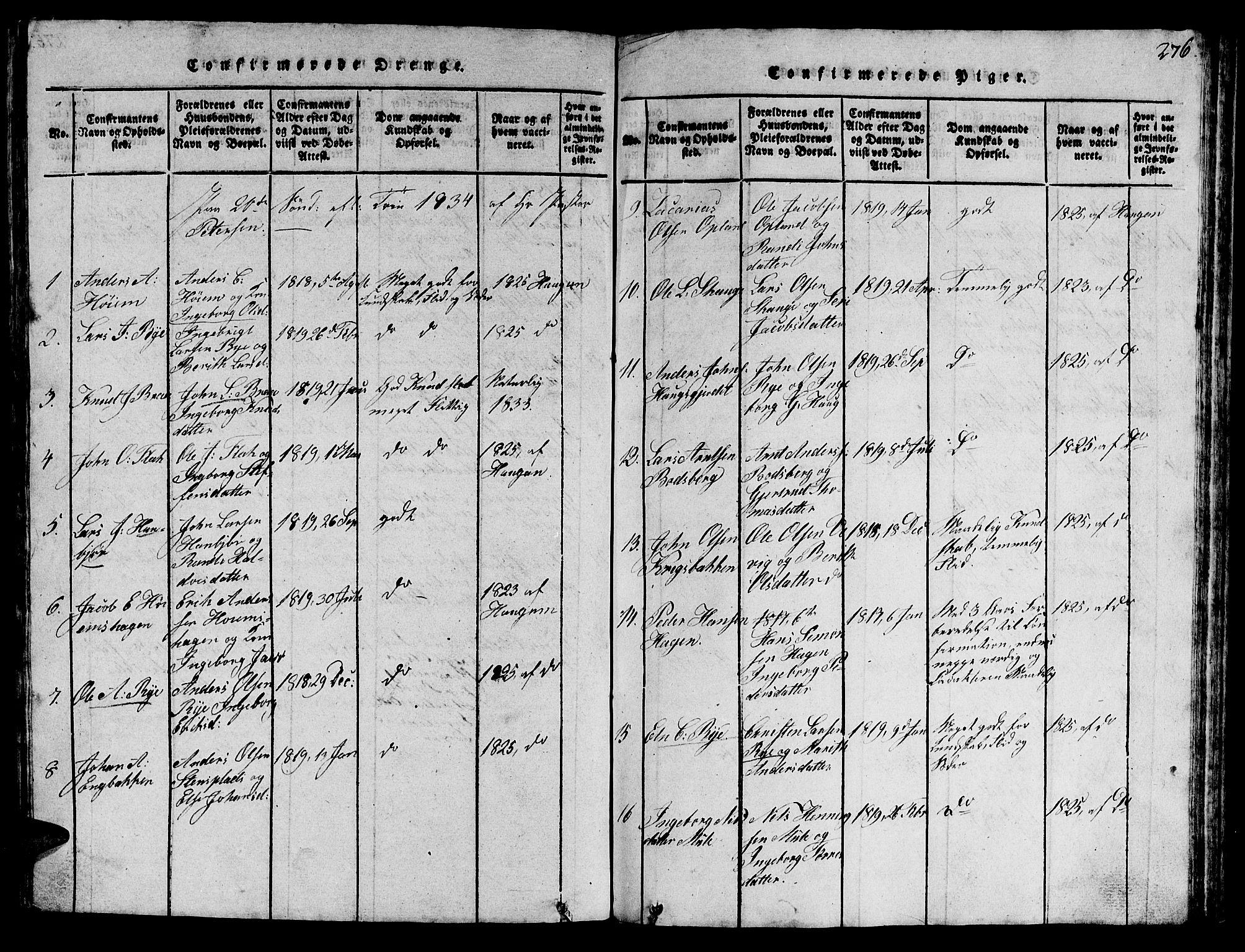 SAT, Ministerialprotokoller, klokkerbøker og fødselsregistre - Sør-Trøndelag, 612/L0385: Klokkerbok nr. 612C01, 1816-1845, s. 276