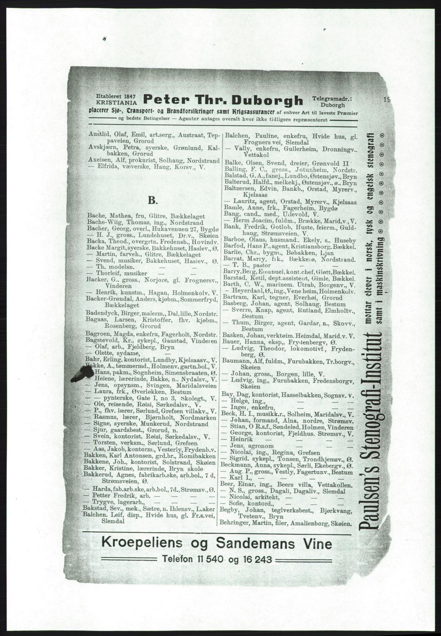 PUBL, Aker adressebok/adressekalender, 1916-1917, s. 19