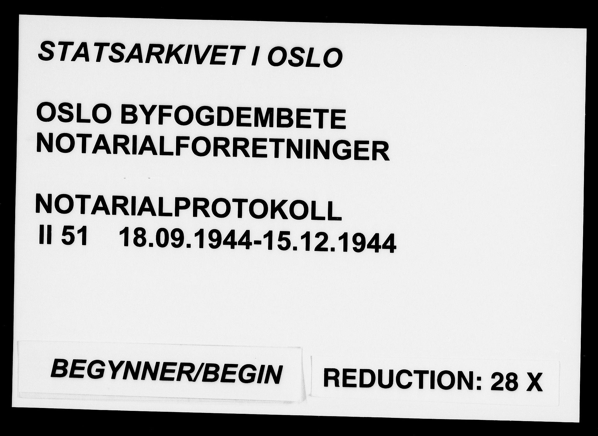 SAO, Oslo byfogd avd. I, L/Lb/Lbb/L0051: Notarialprotokoll, rekke II: Vigsler, 1944, s. upaginert