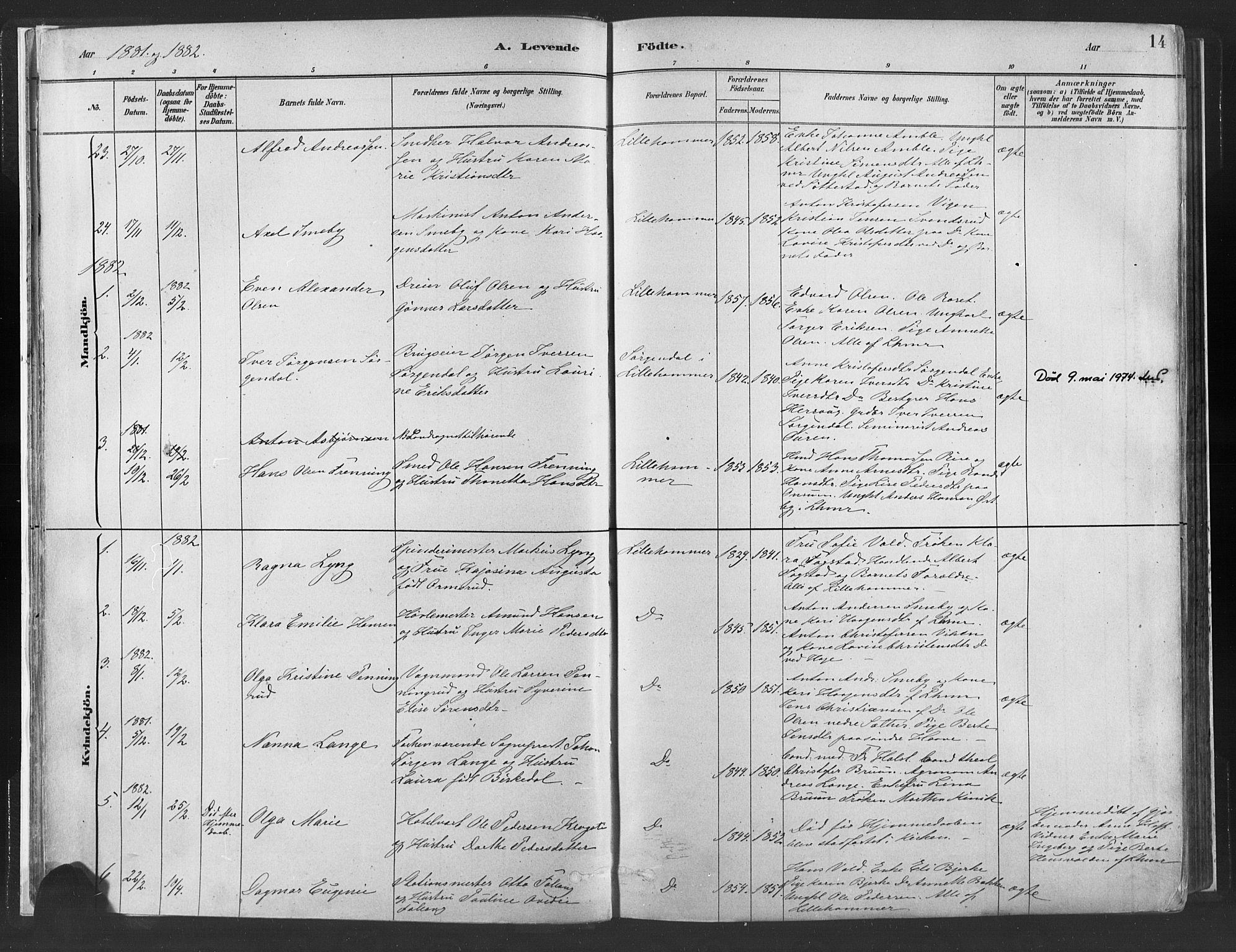 SAH, Fåberg prestekontor, H/Ha/Haa/L0010: Ministerialbok nr. 10, 1879-1900, s. 14