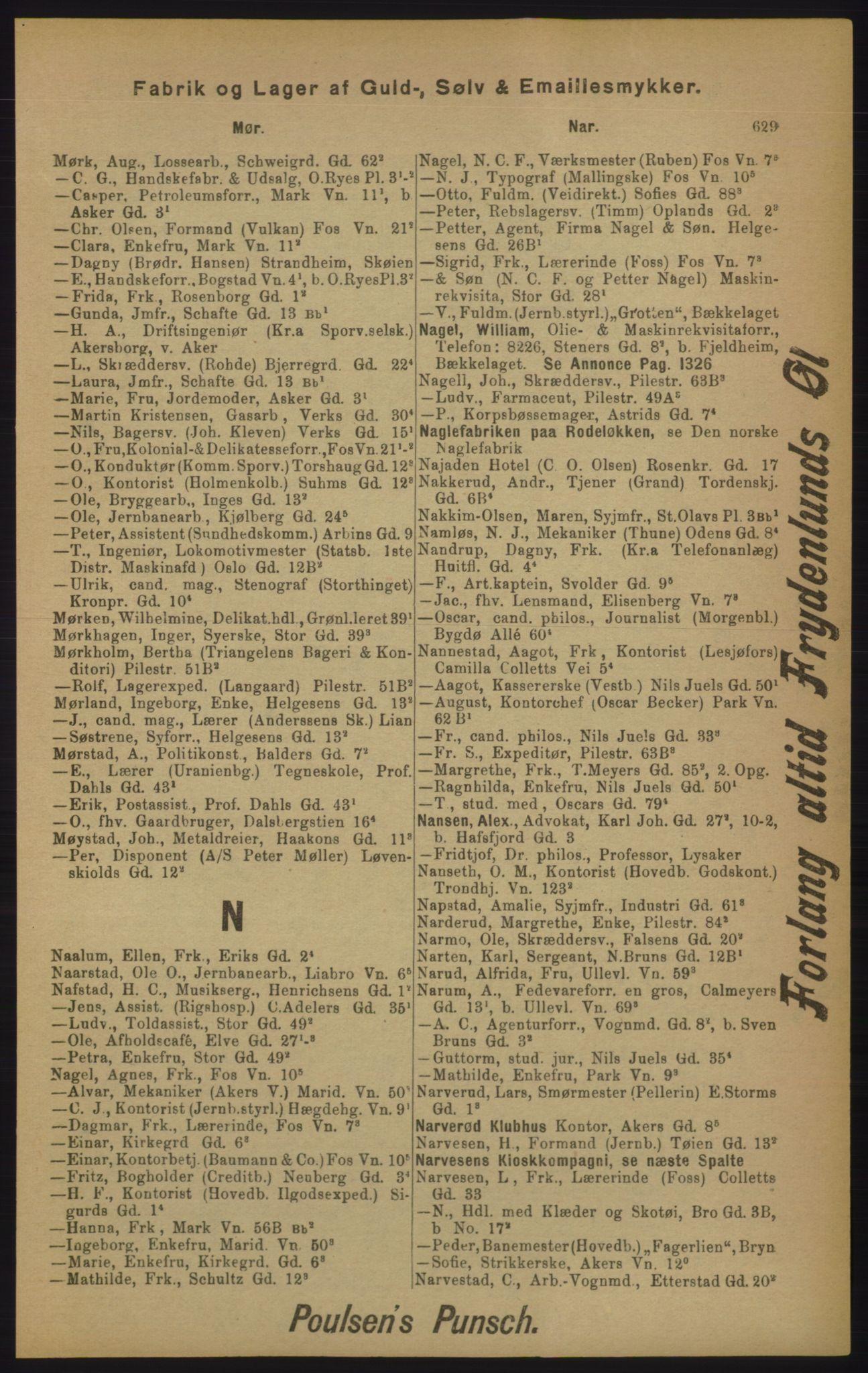 RA, Kristiania adressebok (publikasjon)*, 1905, s. 629