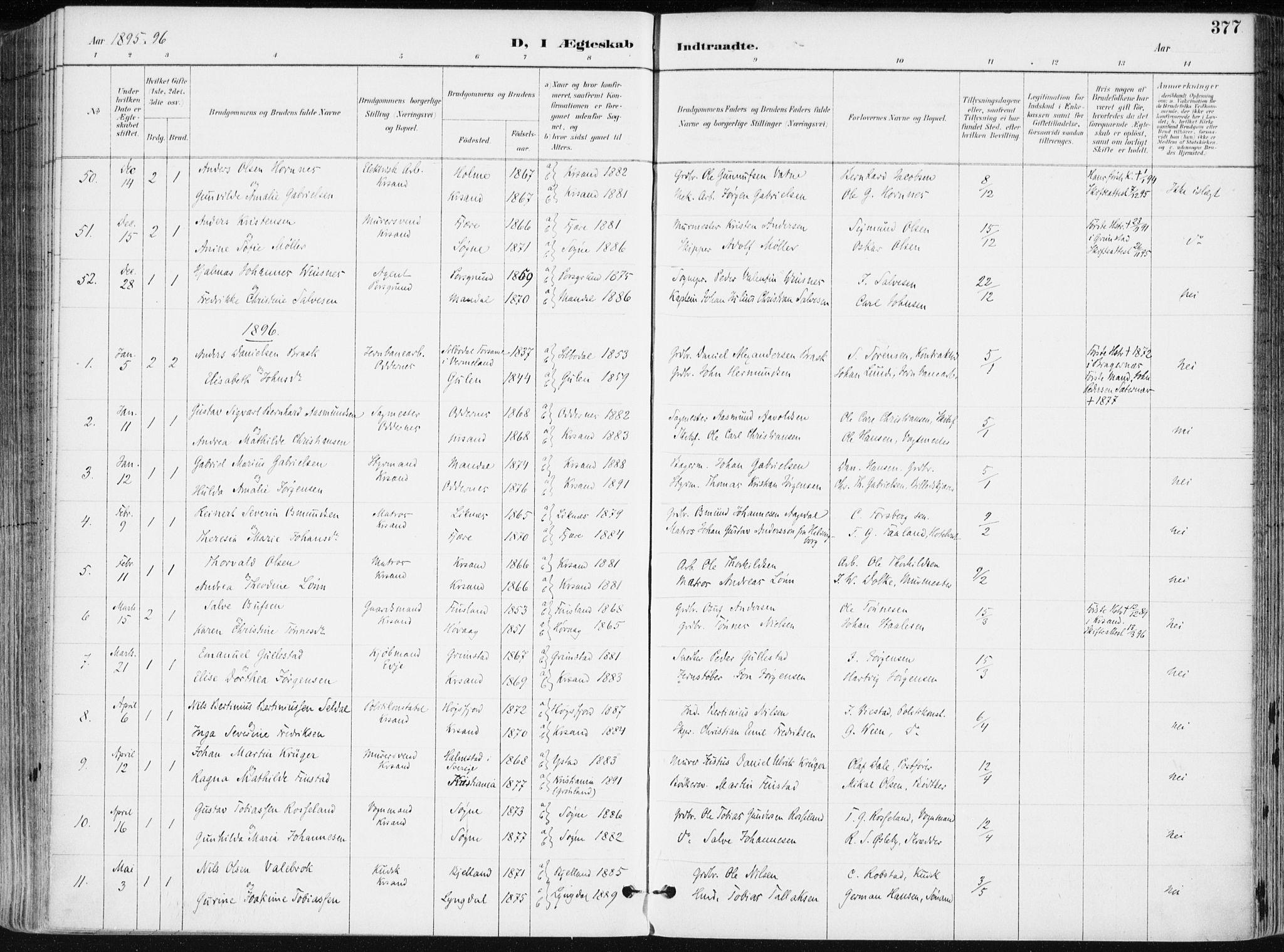 SAK, Kristiansand domprosti, F/Fa/L0019: Ministerialbok nr. A 18, 1890-1897, s. 377