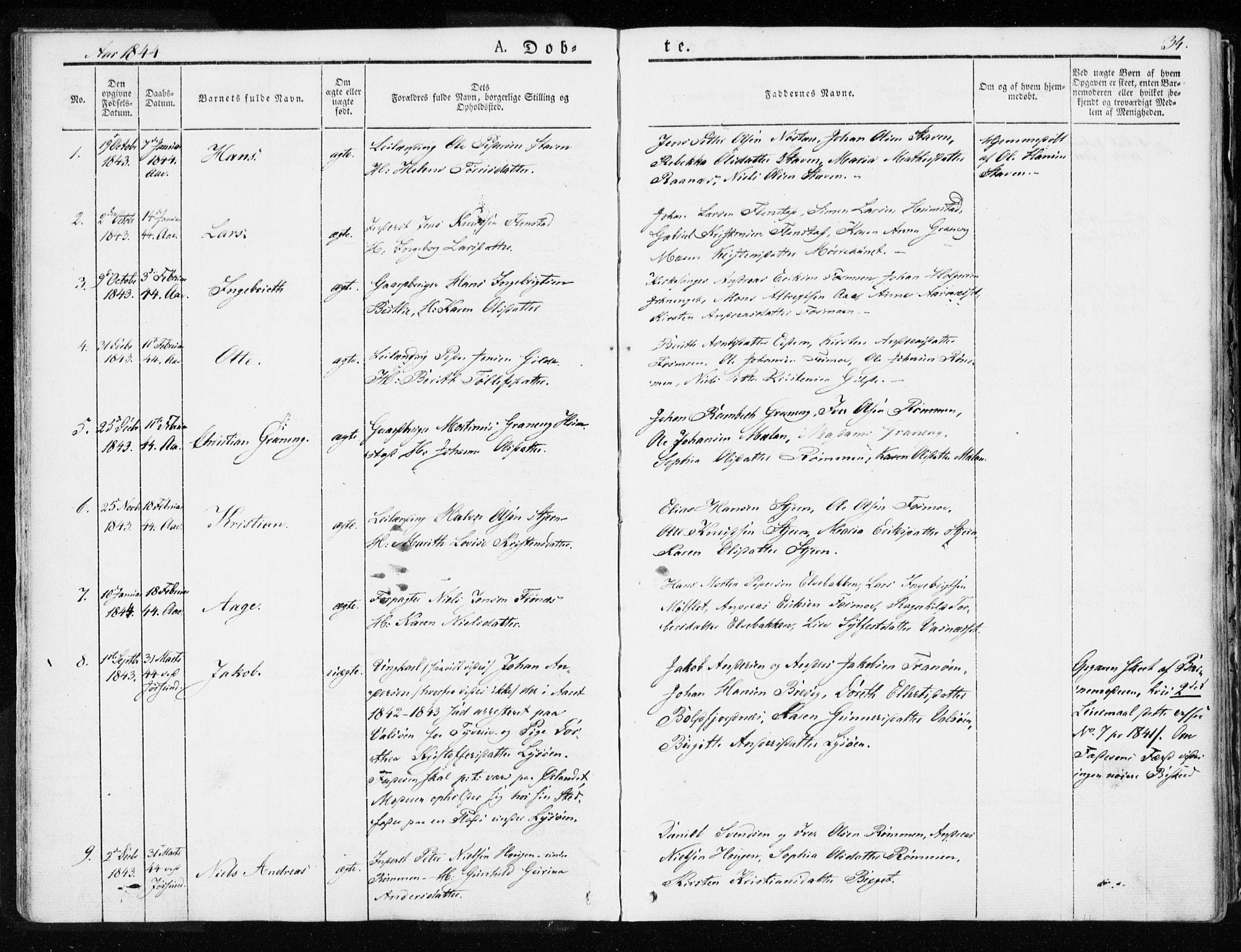 SAT, Ministerialprotokoller, klokkerbøker og fødselsregistre - Sør-Trøndelag, 655/L0676: Ministerialbok nr. 655A05, 1830-1847, s. 34