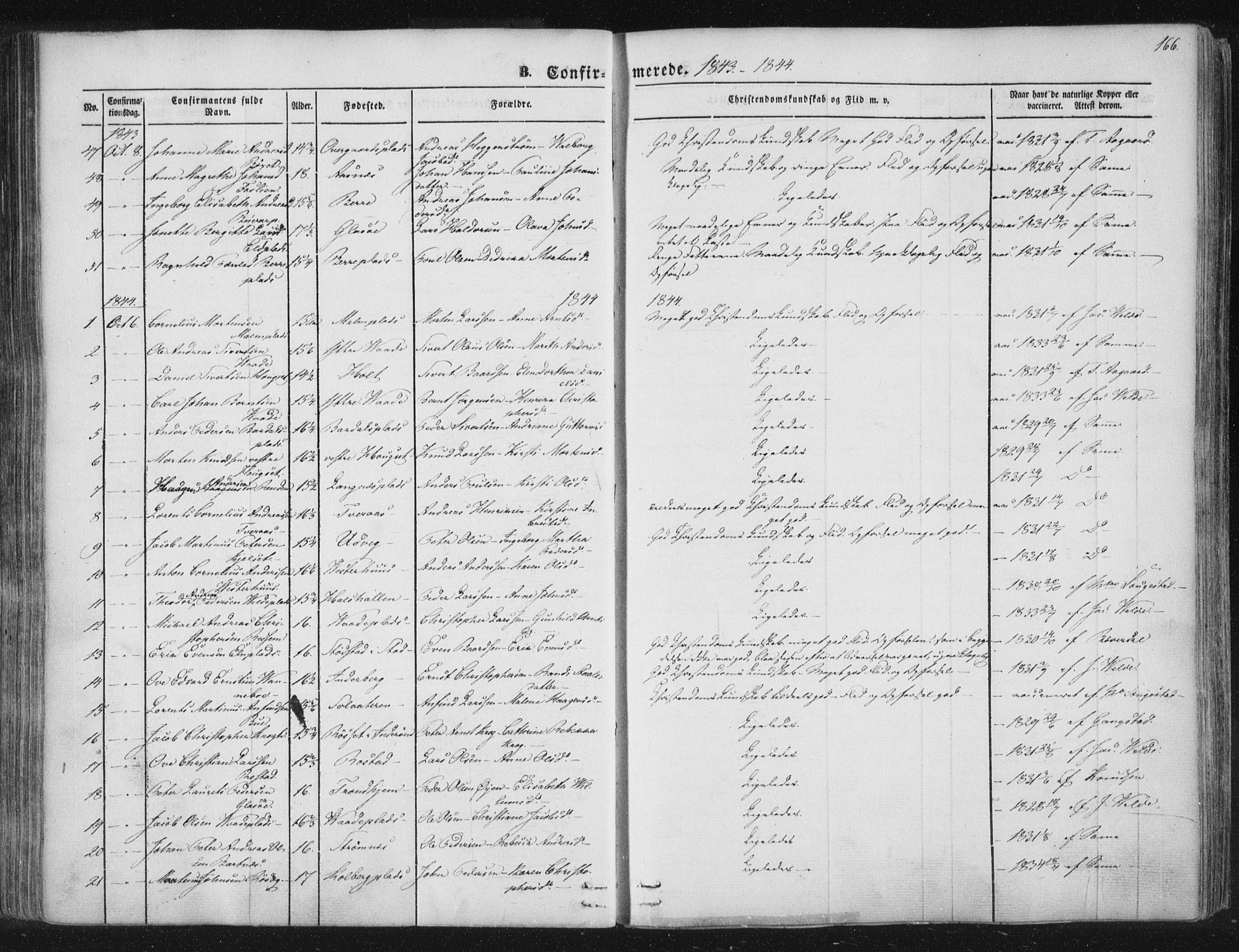 SAT, Ministerialprotokoller, klokkerbøker og fødselsregistre - Nord-Trøndelag, 741/L0392: Ministerialbok nr. 741A06, 1836-1848, s. 166