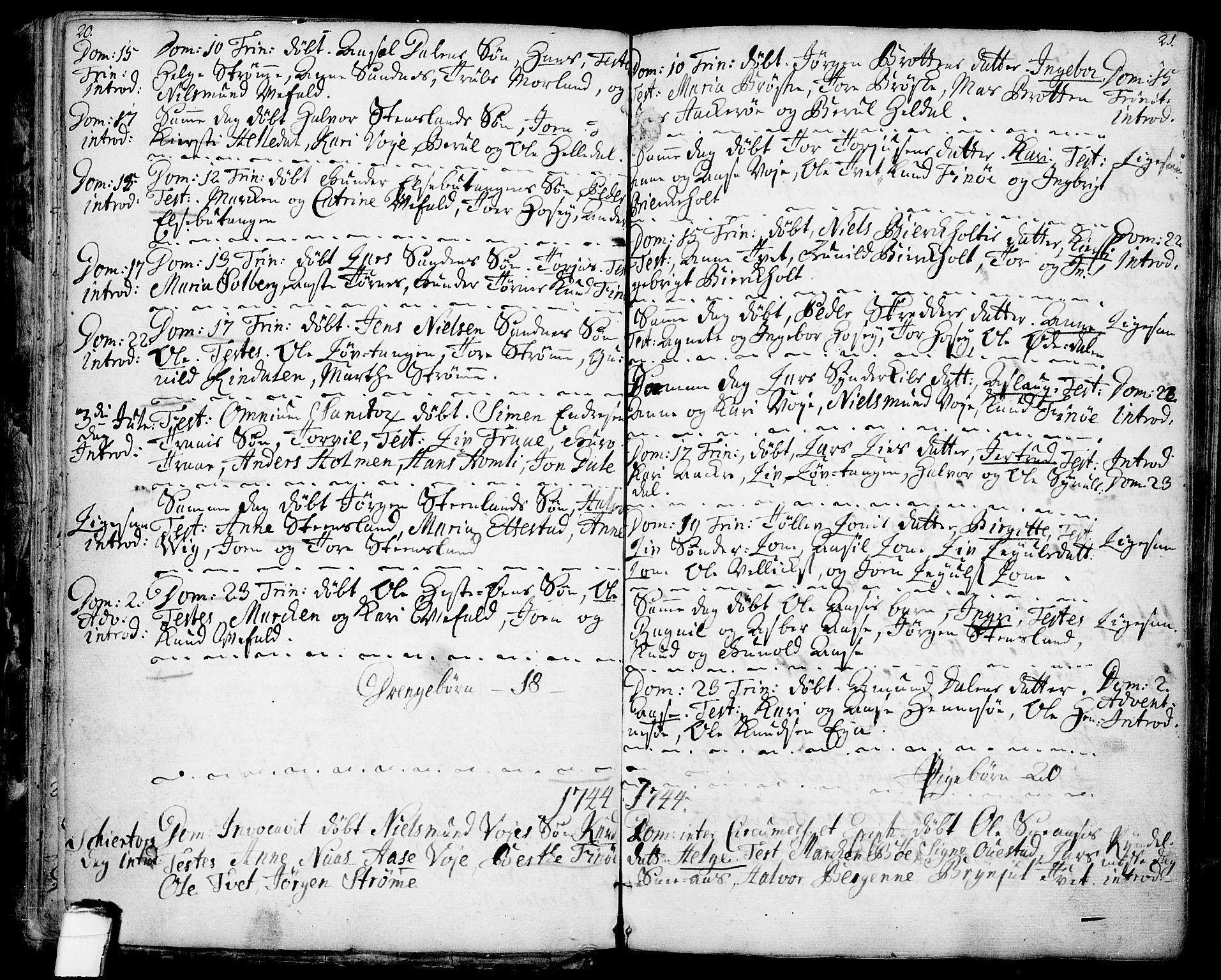 SAKO, Drangedal kirkebøker, F/Fa/L0001: Ministerialbok nr. 1, 1697-1767, s. 20-21