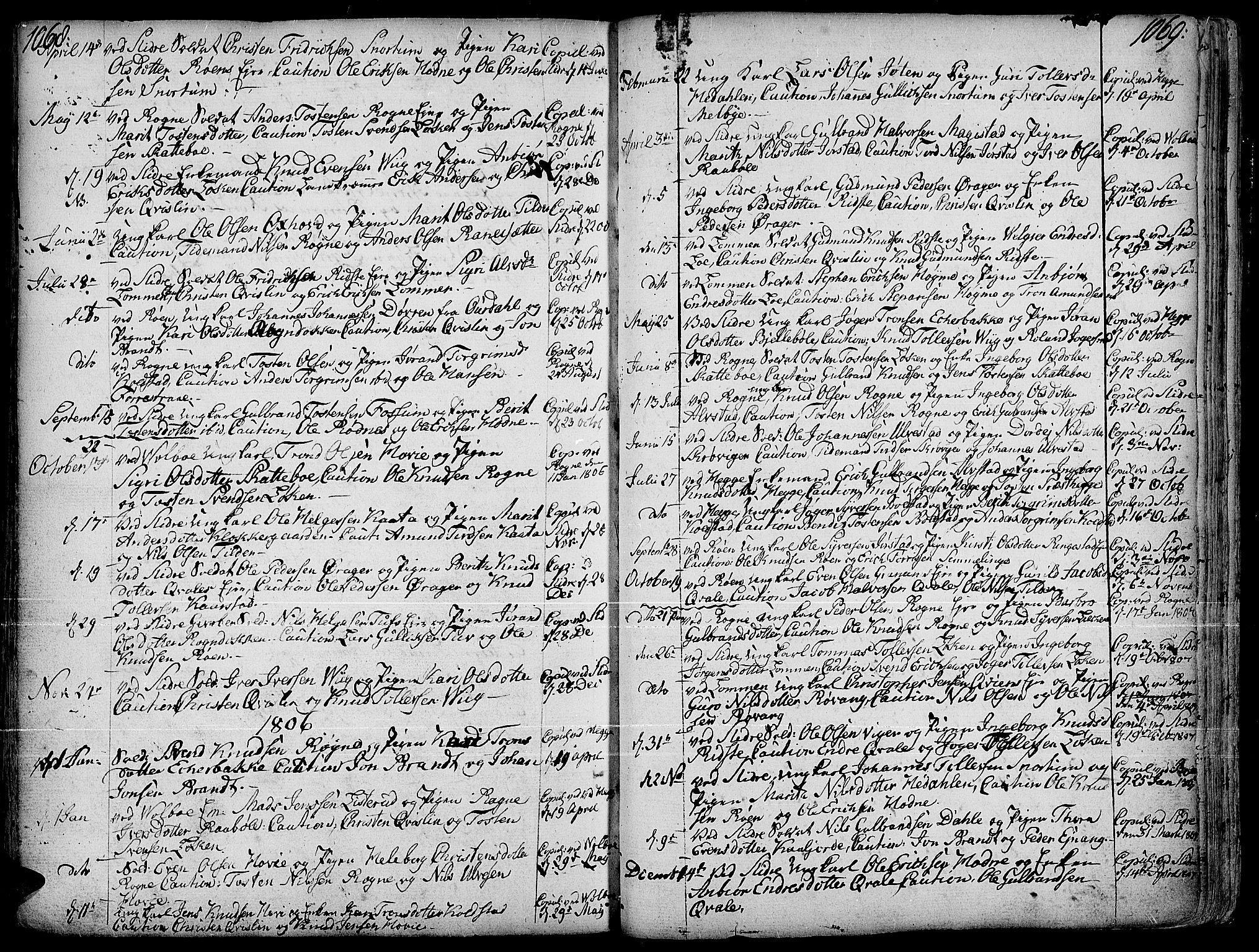 SAH, Slidre prestekontor, Ministerialbok nr. 1, 1724-1814, s. 1068-1069